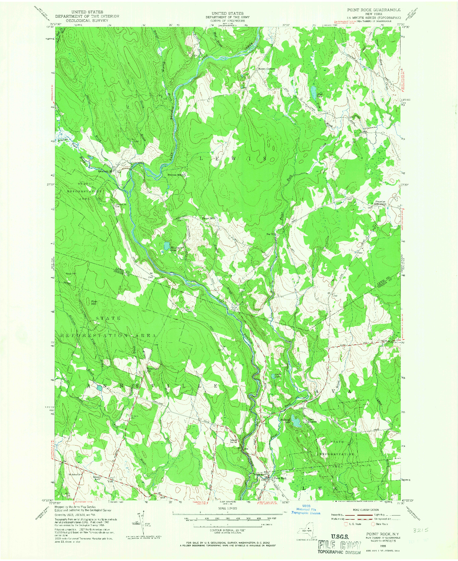 USGS 1:24000-SCALE QUADRANGLE FOR POINT ROCK, NY 1955