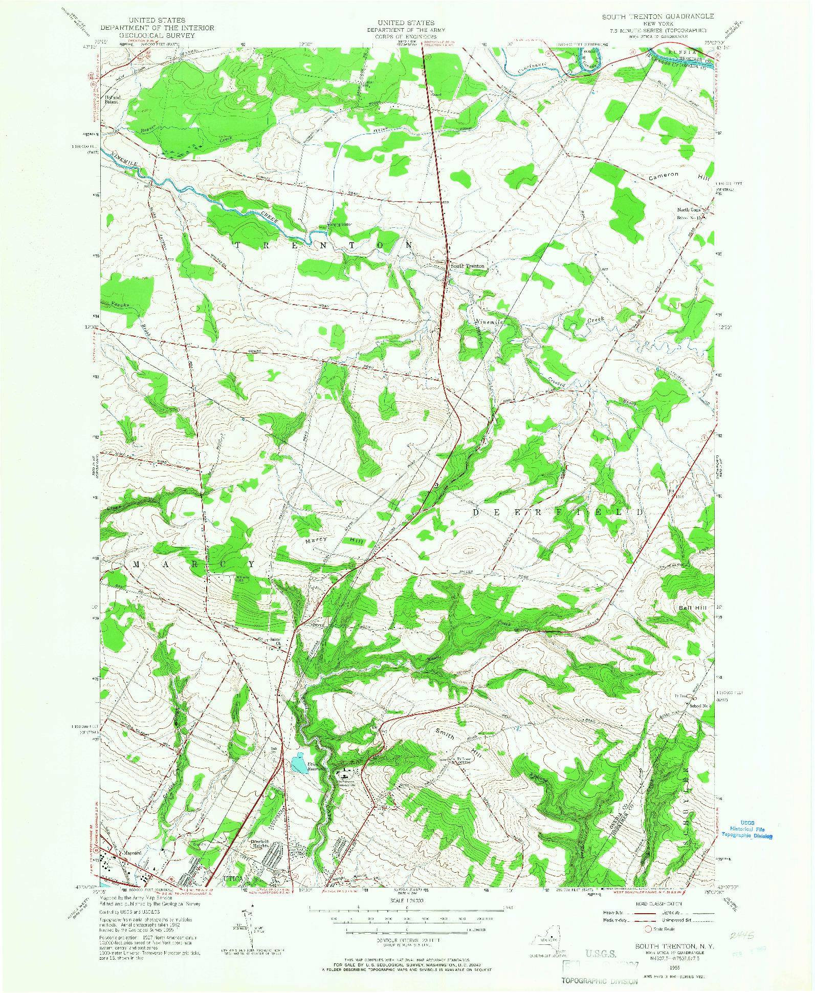 USGS 1:24000-SCALE QUADRANGLE FOR SOUTH TRENTON, NY 1955