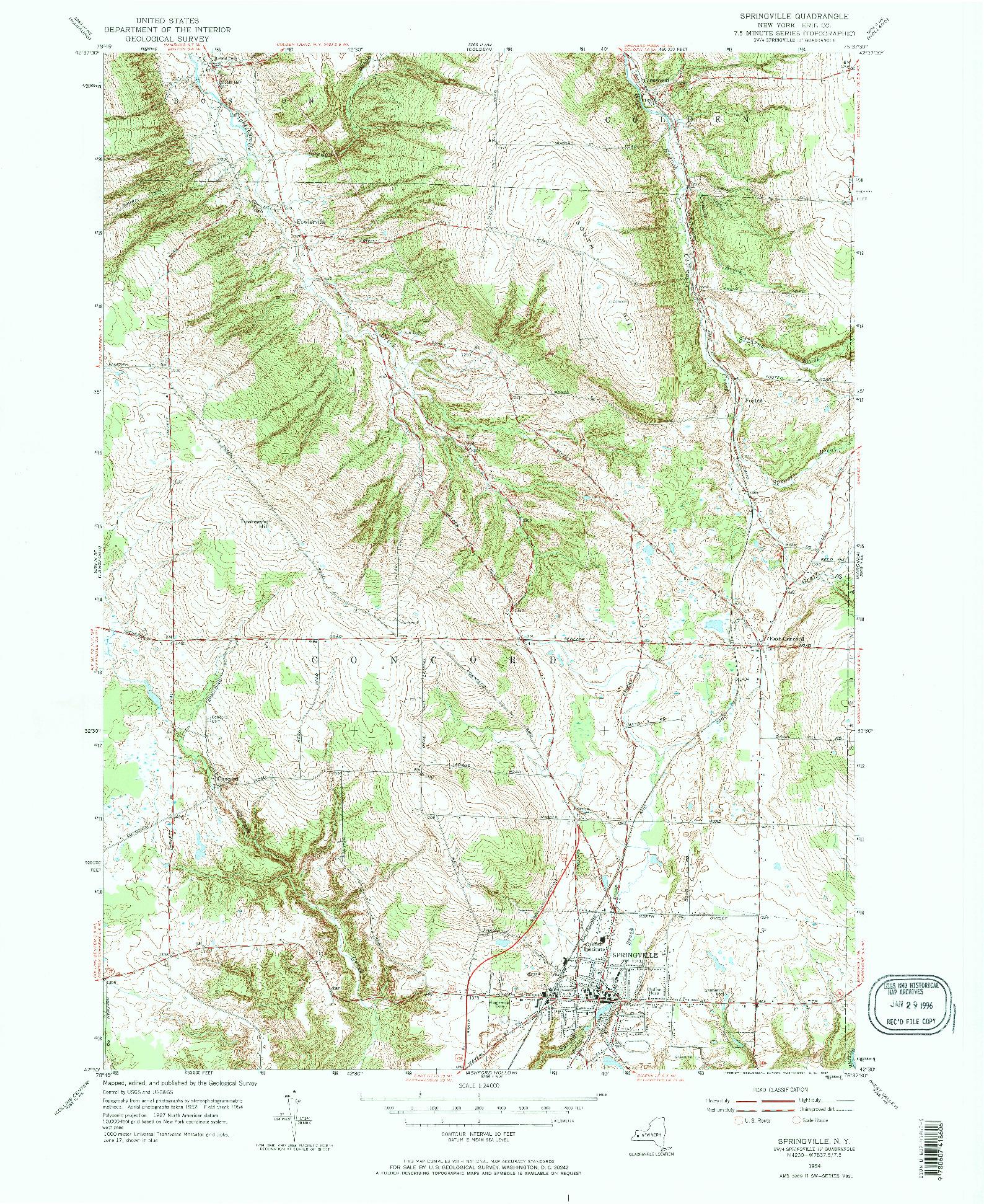 USGS 1:24000-SCALE QUADRANGLE FOR SPRINGVILLE, NY 1954