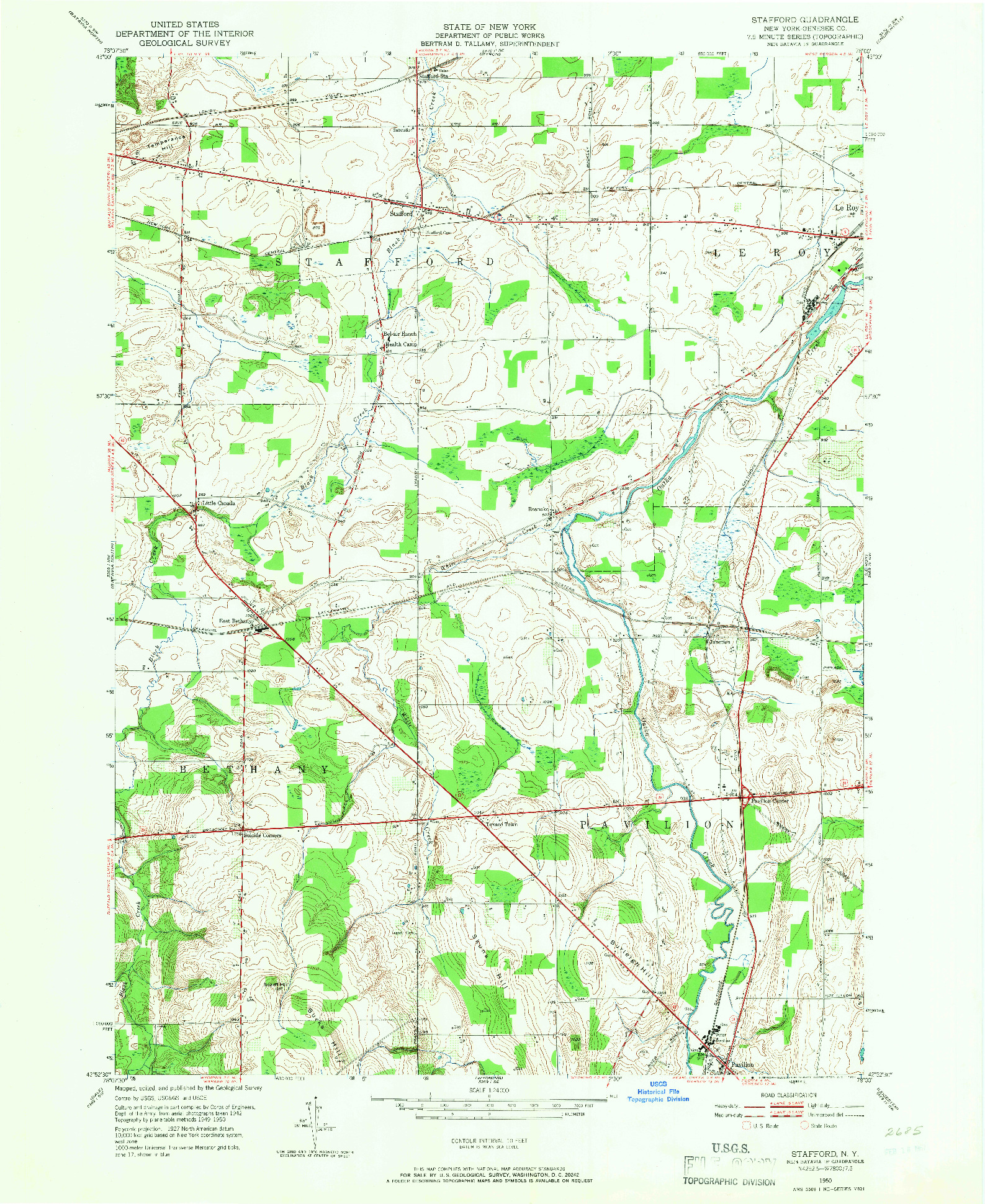 USGS 1:24000-SCALE QUADRANGLE FOR STAFFORD, NY 1950