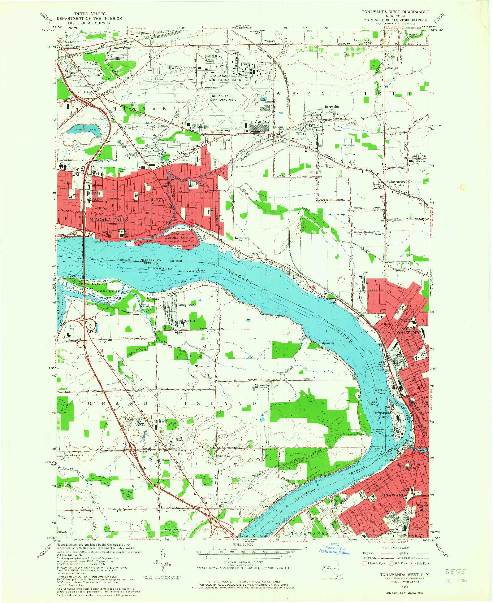 USGS 1:24000-SCALE QUADRANGLE FOR TONAWANDA WEST, NY 1965