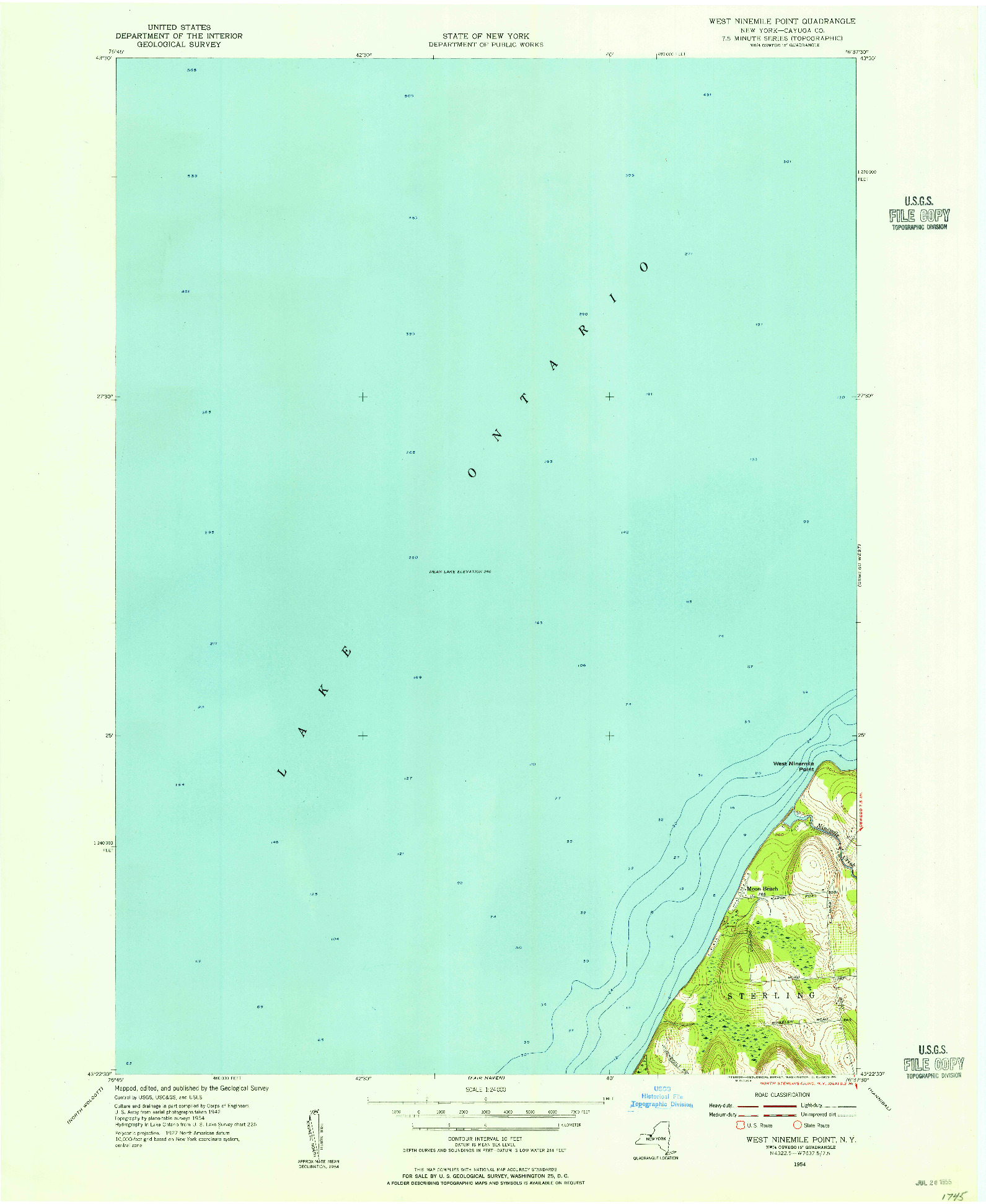 USGS 1:24000-SCALE QUADRANGLE FOR WEST NINEMILE POINT, NY 1954
