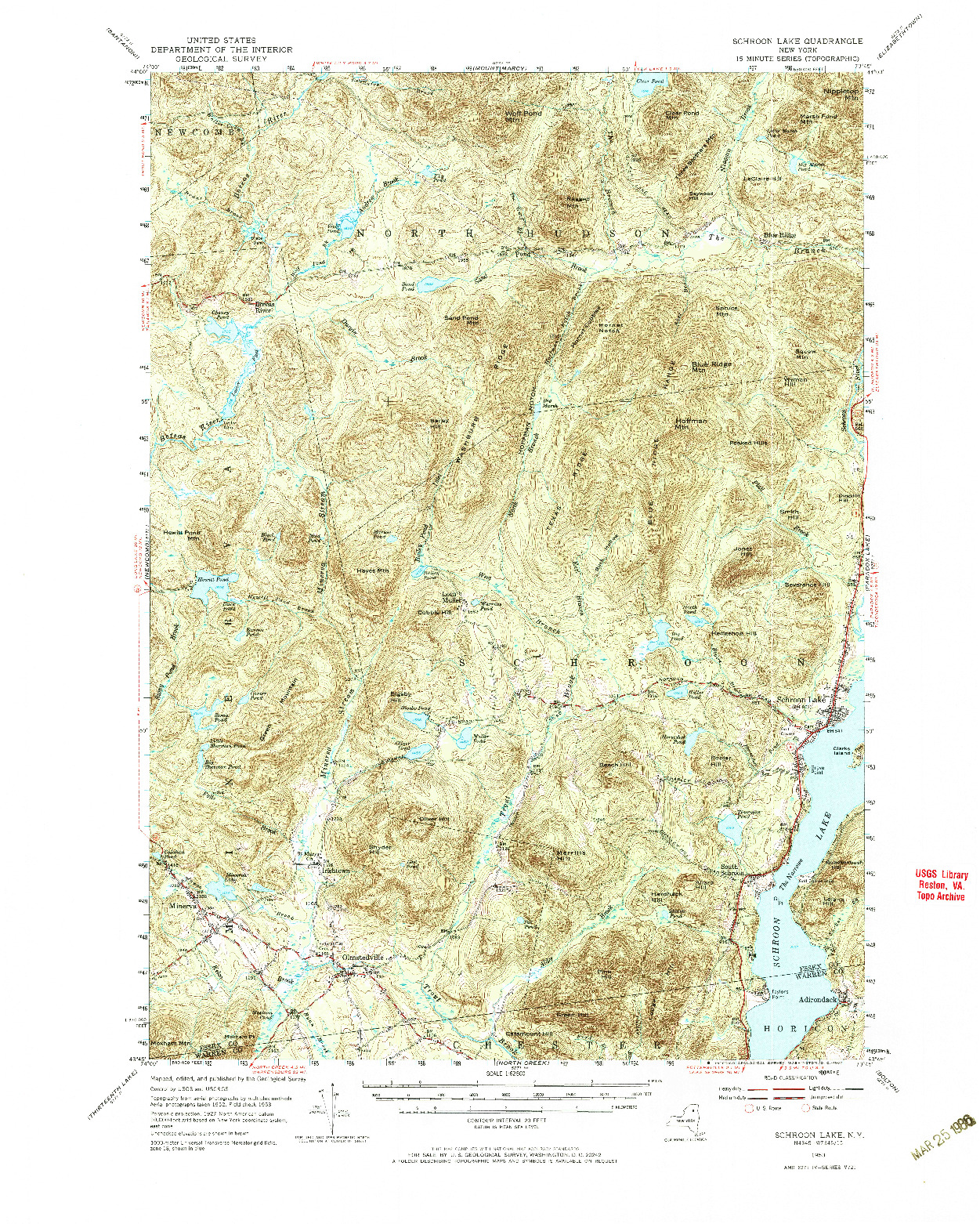 USGS 1:62500-SCALE QUADRANGLE FOR SCHROON LAKE, NY 1953