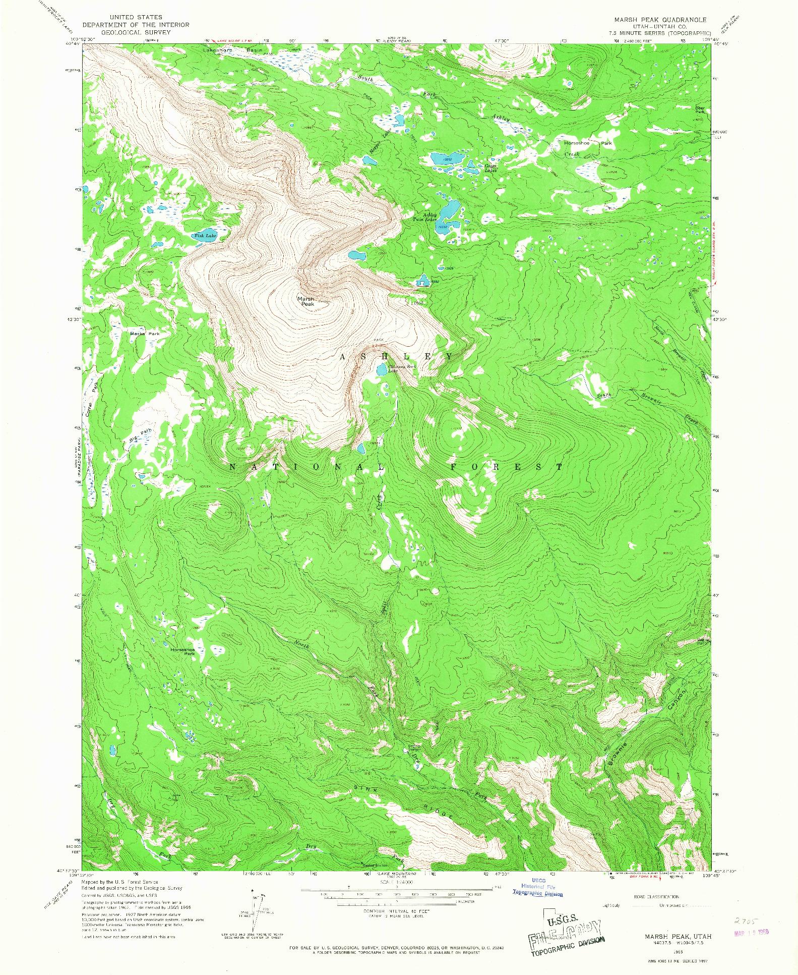 USGS 1:24000-SCALE QUADRANGLE FOR MARSH PEAK, UT 1965