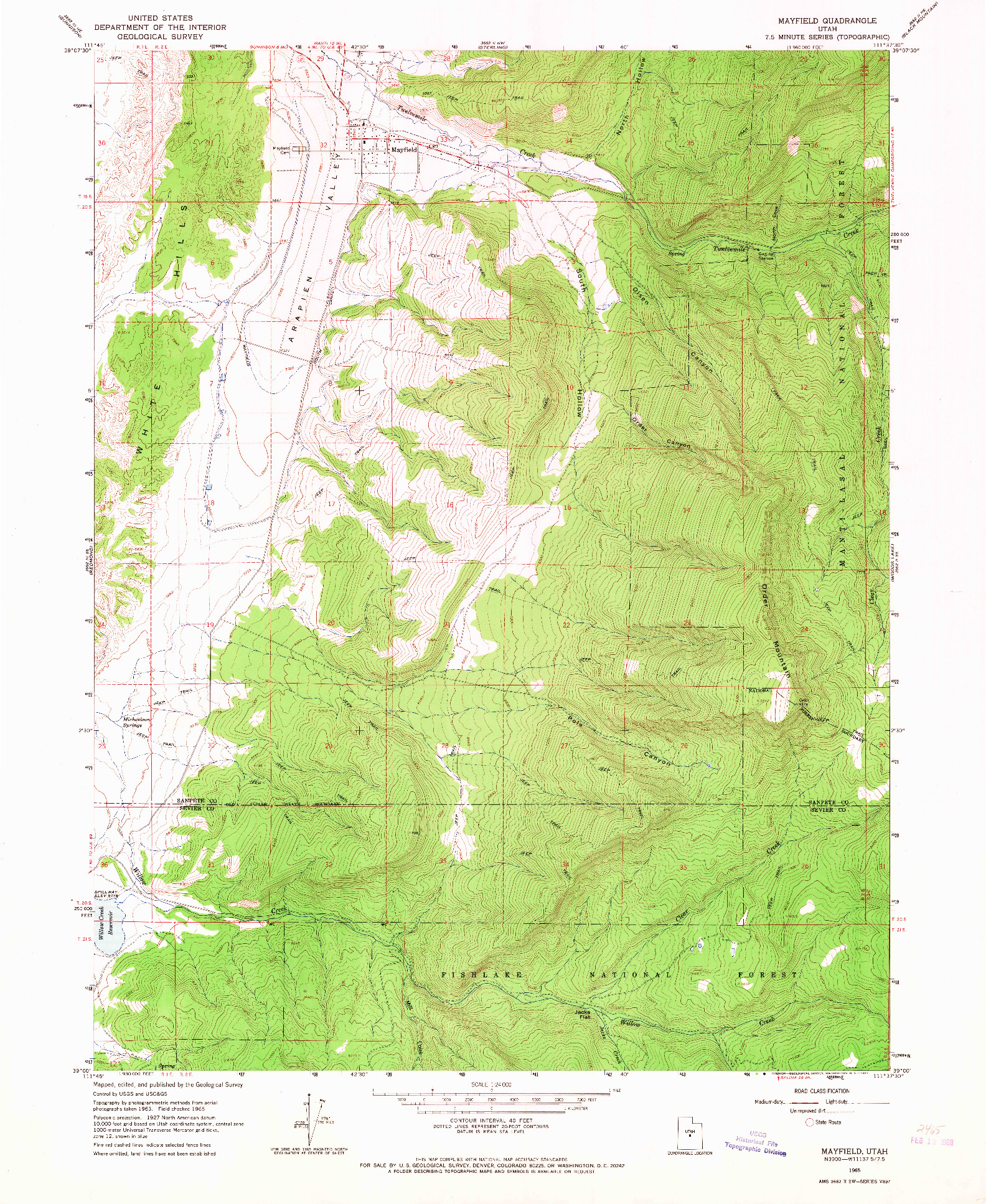 USGS 1:24000-SCALE QUADRANGLE FOR MAYFIELD, UT 1965