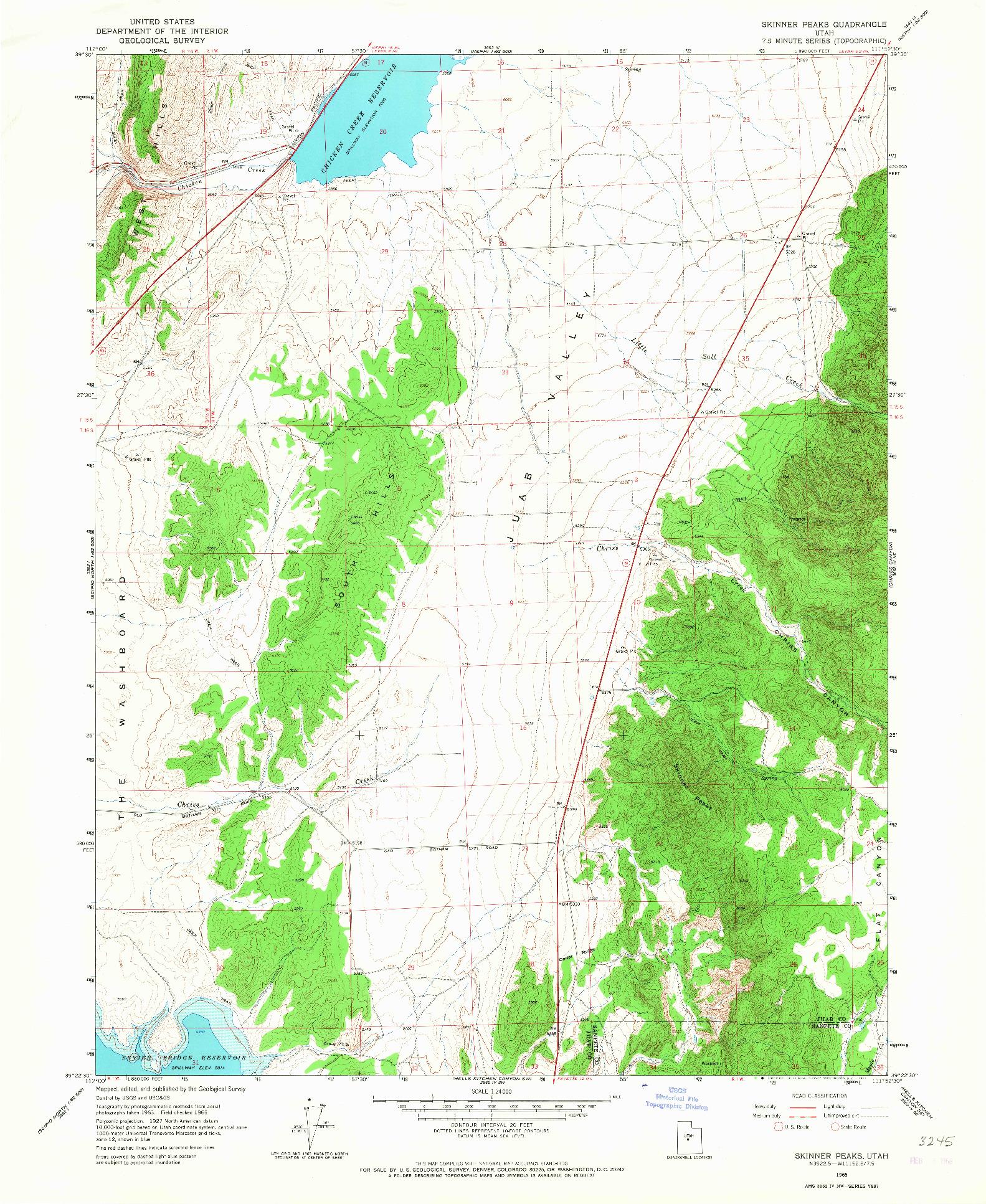 USGS 1:24000-SCALE QUADRANGLE FOR SKINNER PEAKS, UT 1965