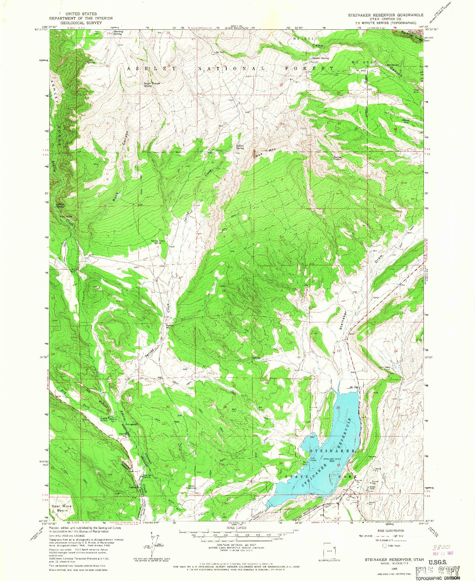 USGS 1:24000-SCALE QUADRANGLE FOR STEINAKER RESERVOIR, UT 1965