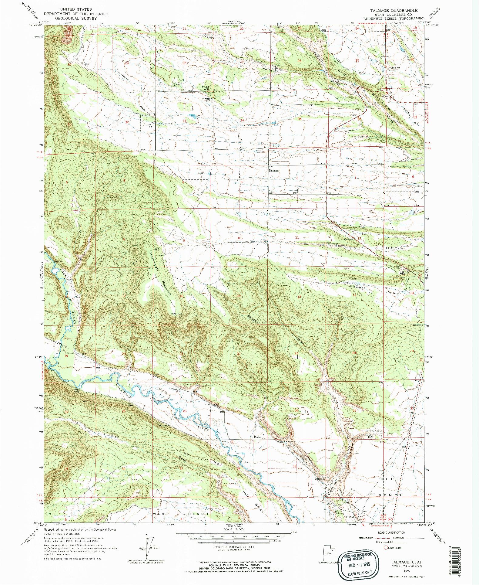 USGS 1:24000-SCALE QUADRANGLE FOR TALMAGE, UT 1965