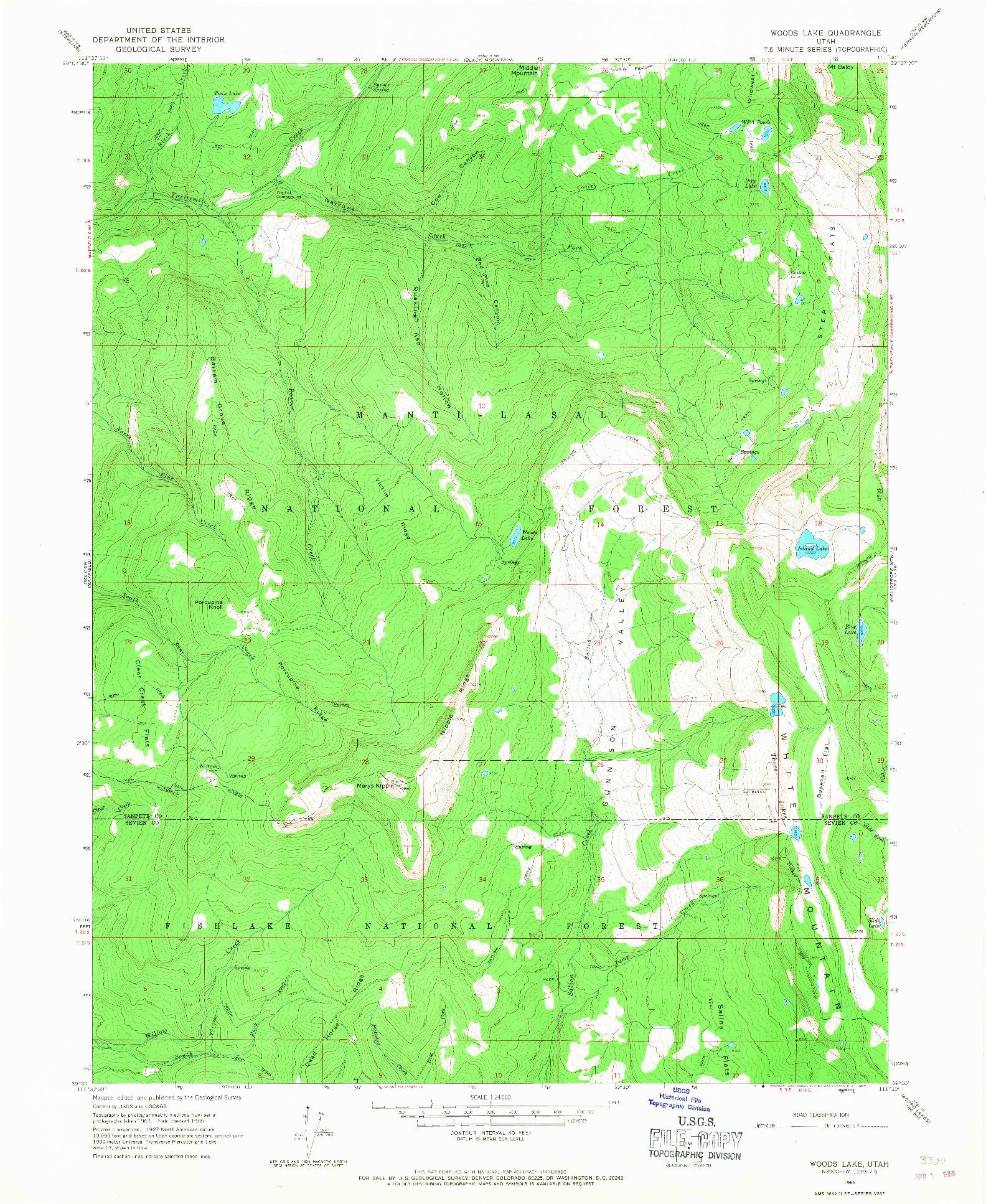 USGS 1:24000-SCALE QUADRANGLE FOR WOODS LAKE, UT 1965