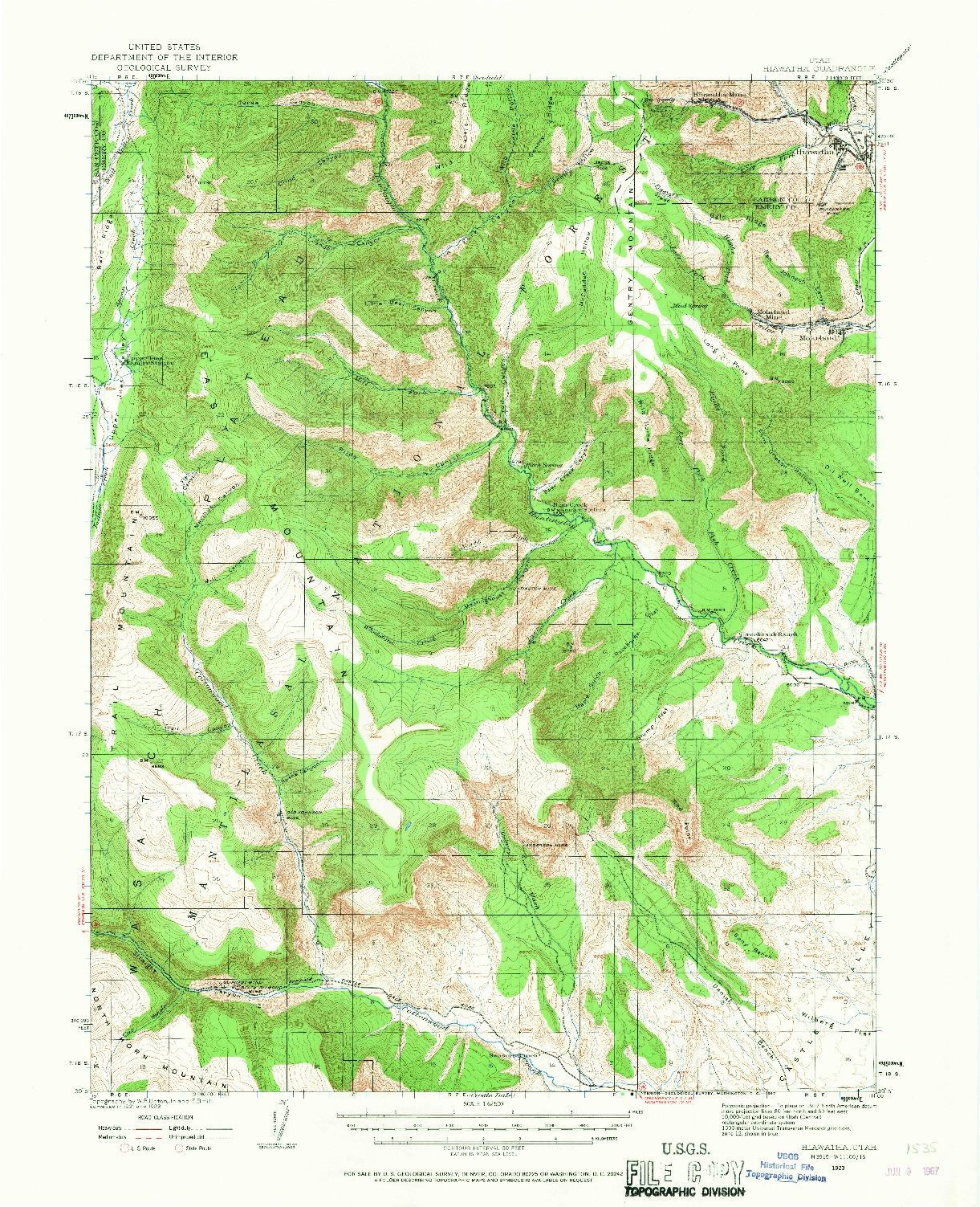 USGS 1:62500-SCALE QUADRANGLE FOR HIAWATHA, UT 1923