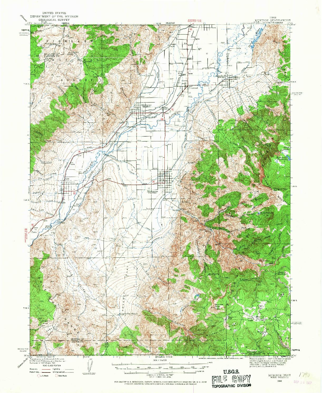 USGS 1:62500-SCALE QUADRANGLE FOR MONROE, UT 1940
