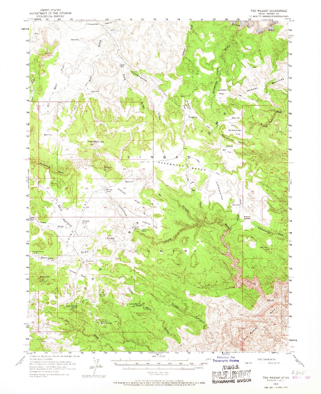 USGS 1:62500-SCALE QUADRANGLE FOR THE WICKIUP, UT 1954