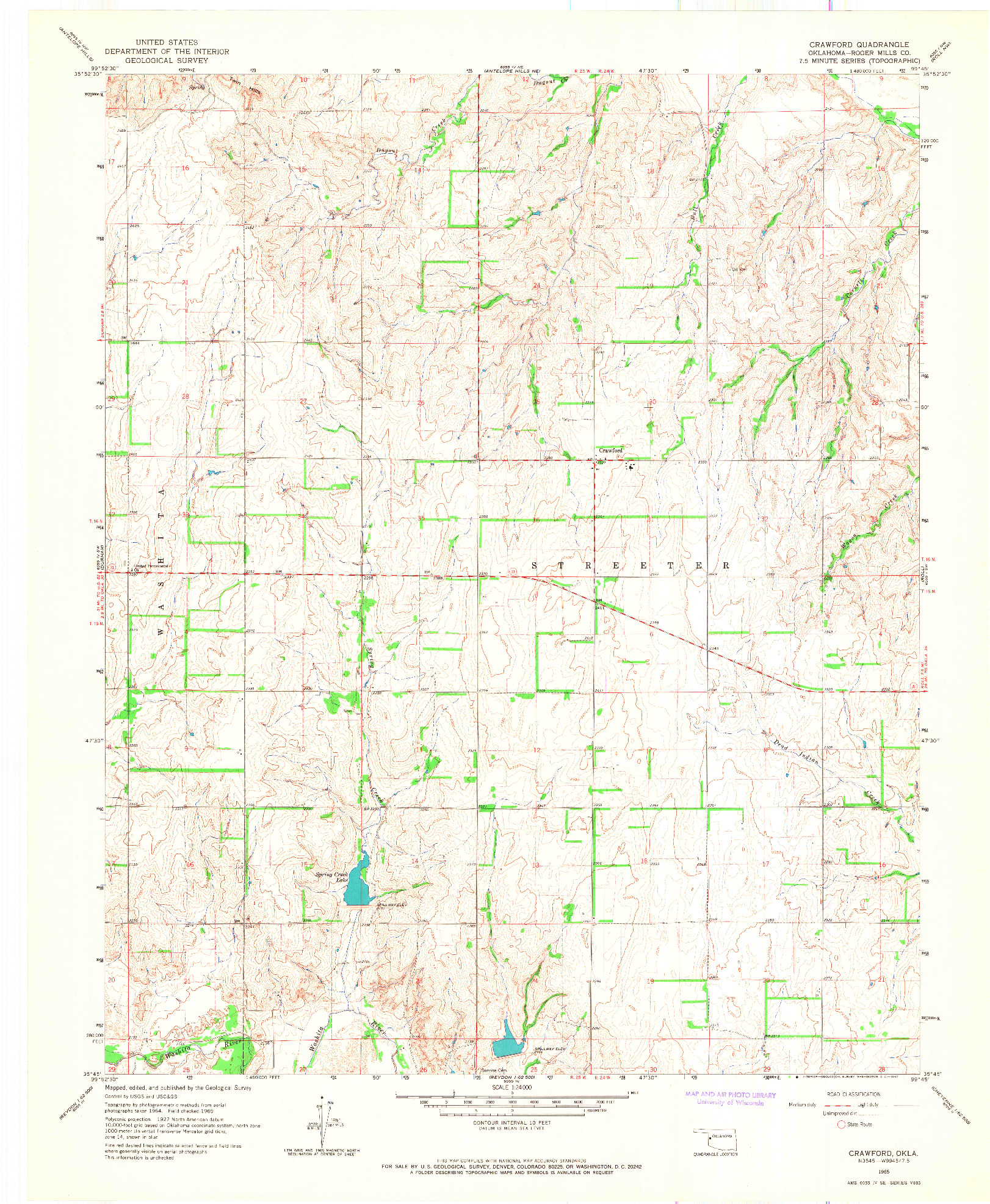 USGS 1:24000-SCALE QUADRANGLE FOR CRAWFORD, OK 1965