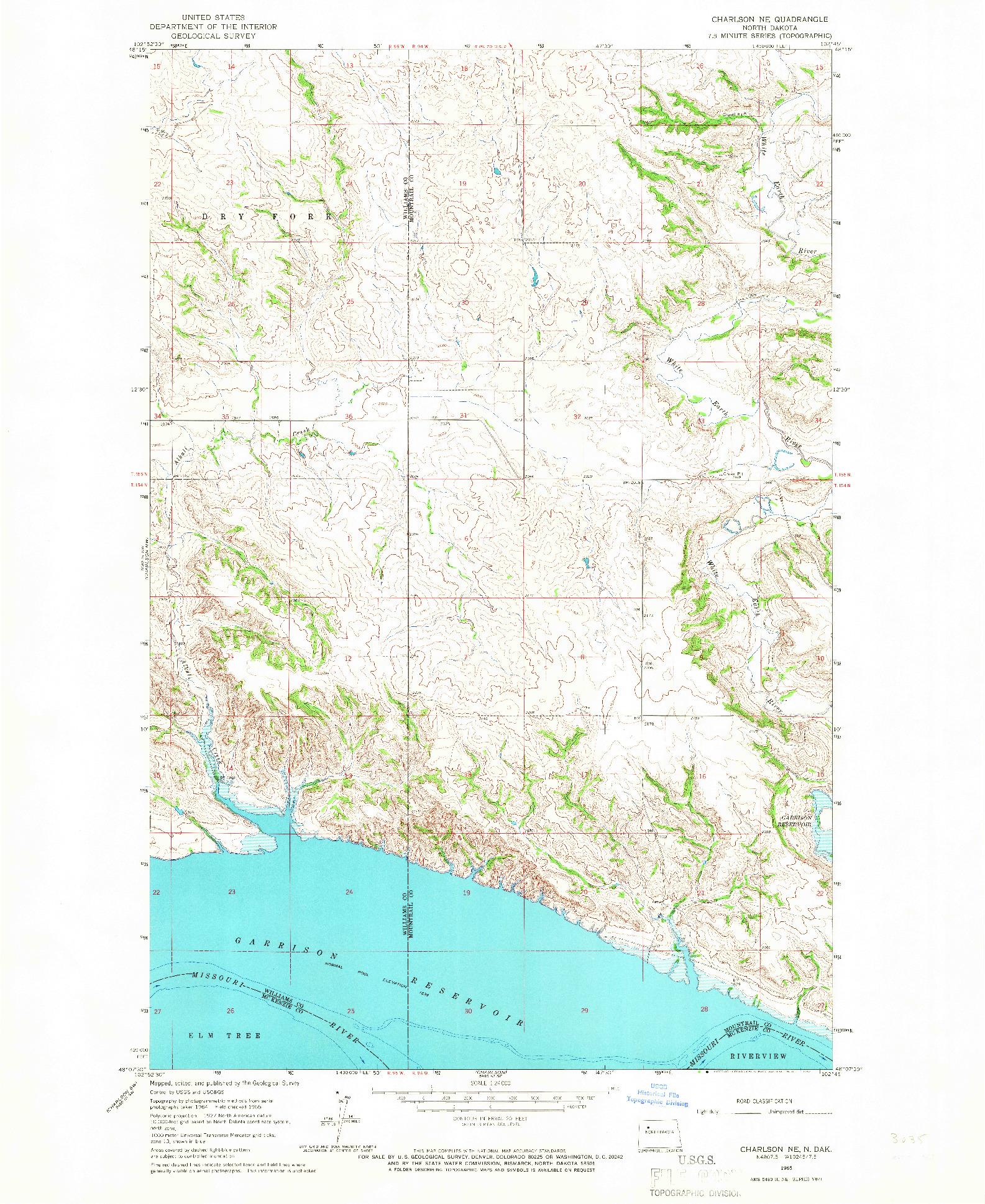 USGS 1:24000-SCALE QUADRANGLE FOR CHARLSON NE, ND 1965