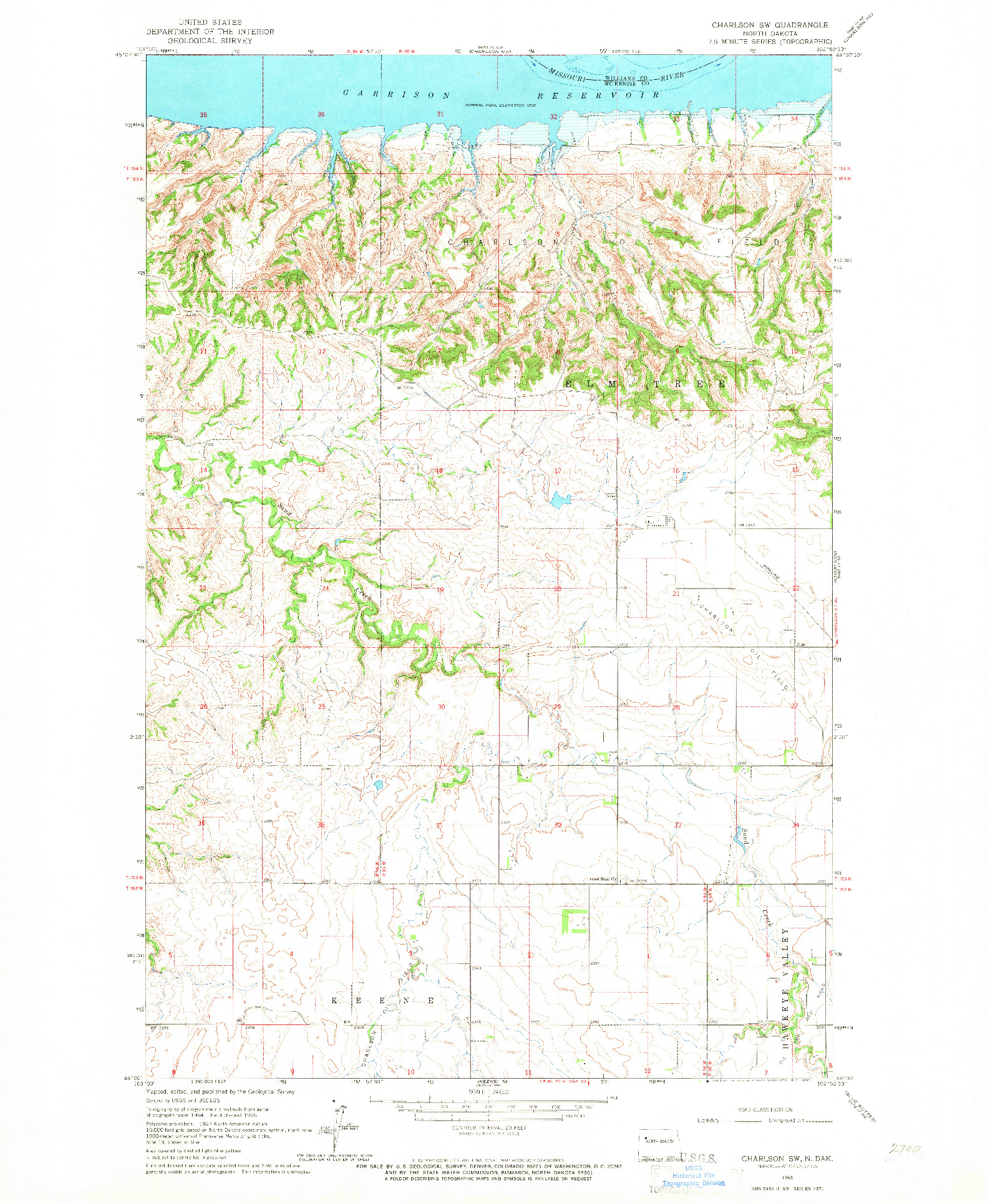 USGS 1:24000-SCALE QUADRANGLE FOR CHARLSON SW, ND 1965