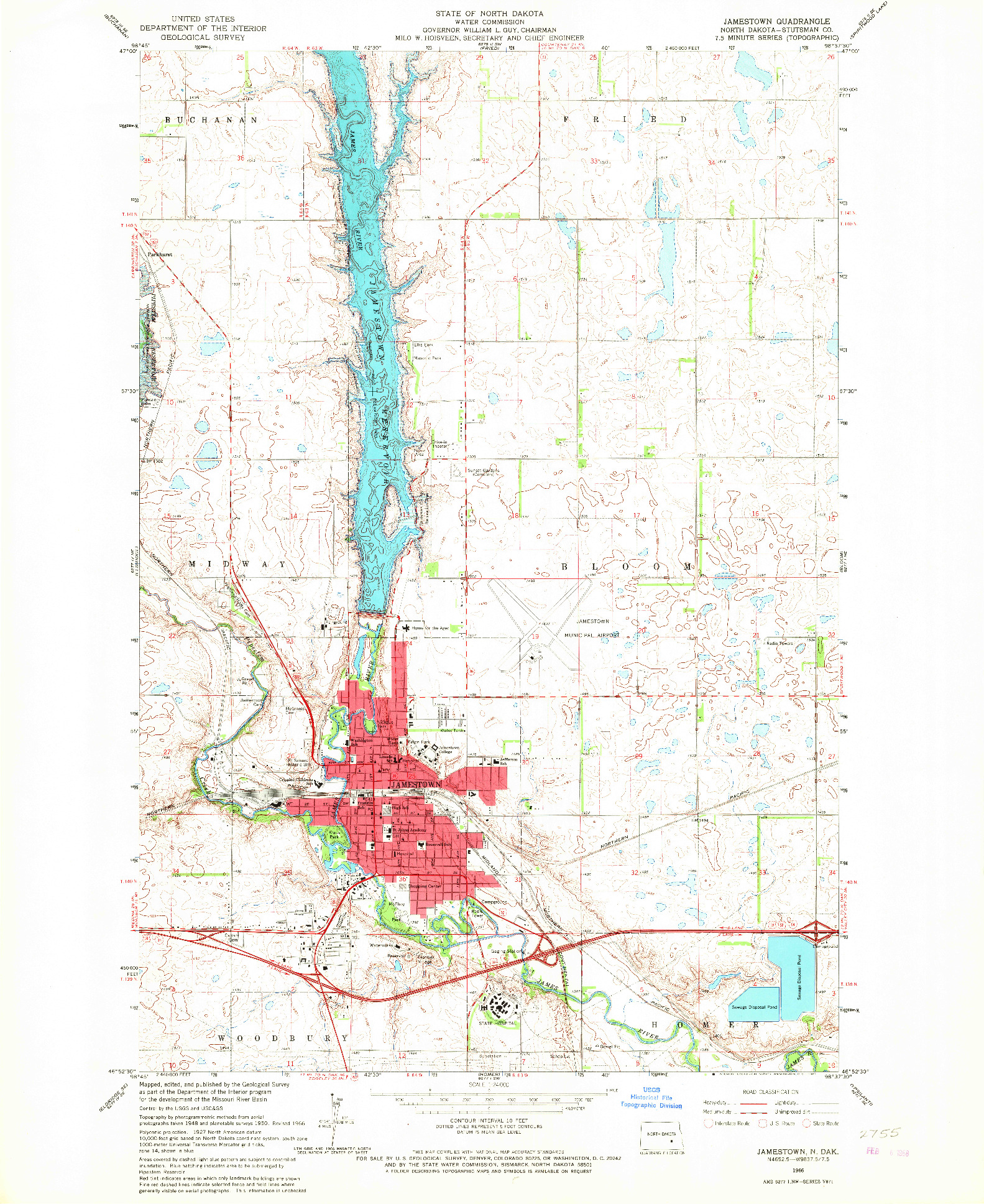 USGS 1:24000-SCALE QUADRANGLE FOR JAMESTOWN, ND 1966