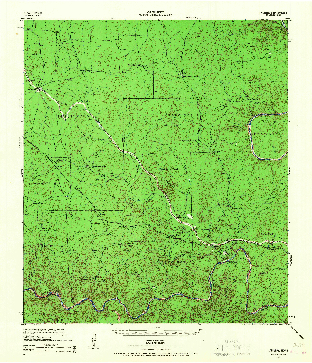 USGS 1:62500-SCALE QUADRANGLE FOR LANGTRY, TX 1943