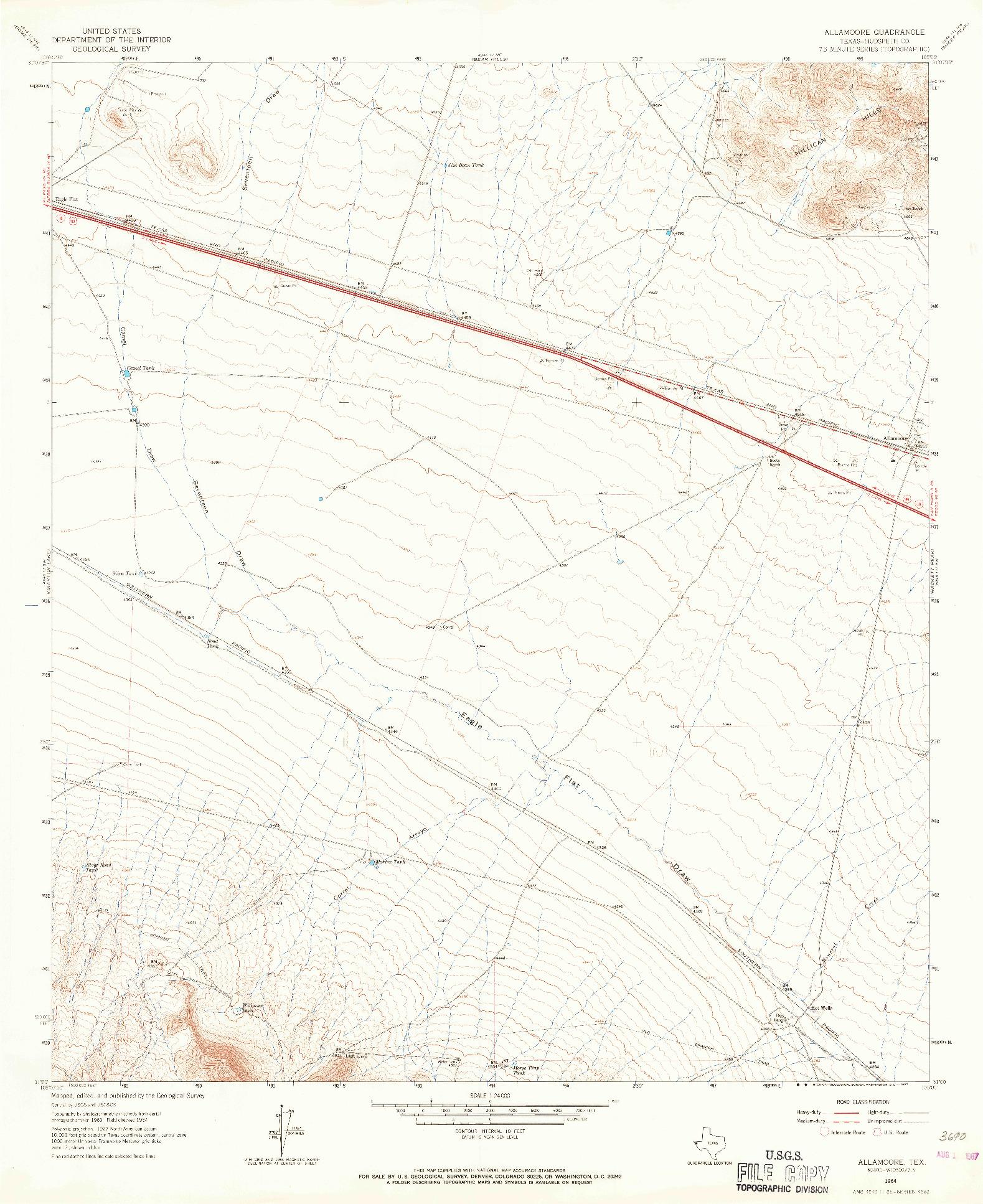 USGS 1:24000-SCALE QUADRANGLE FOR ALLAMOORE, TX 1964