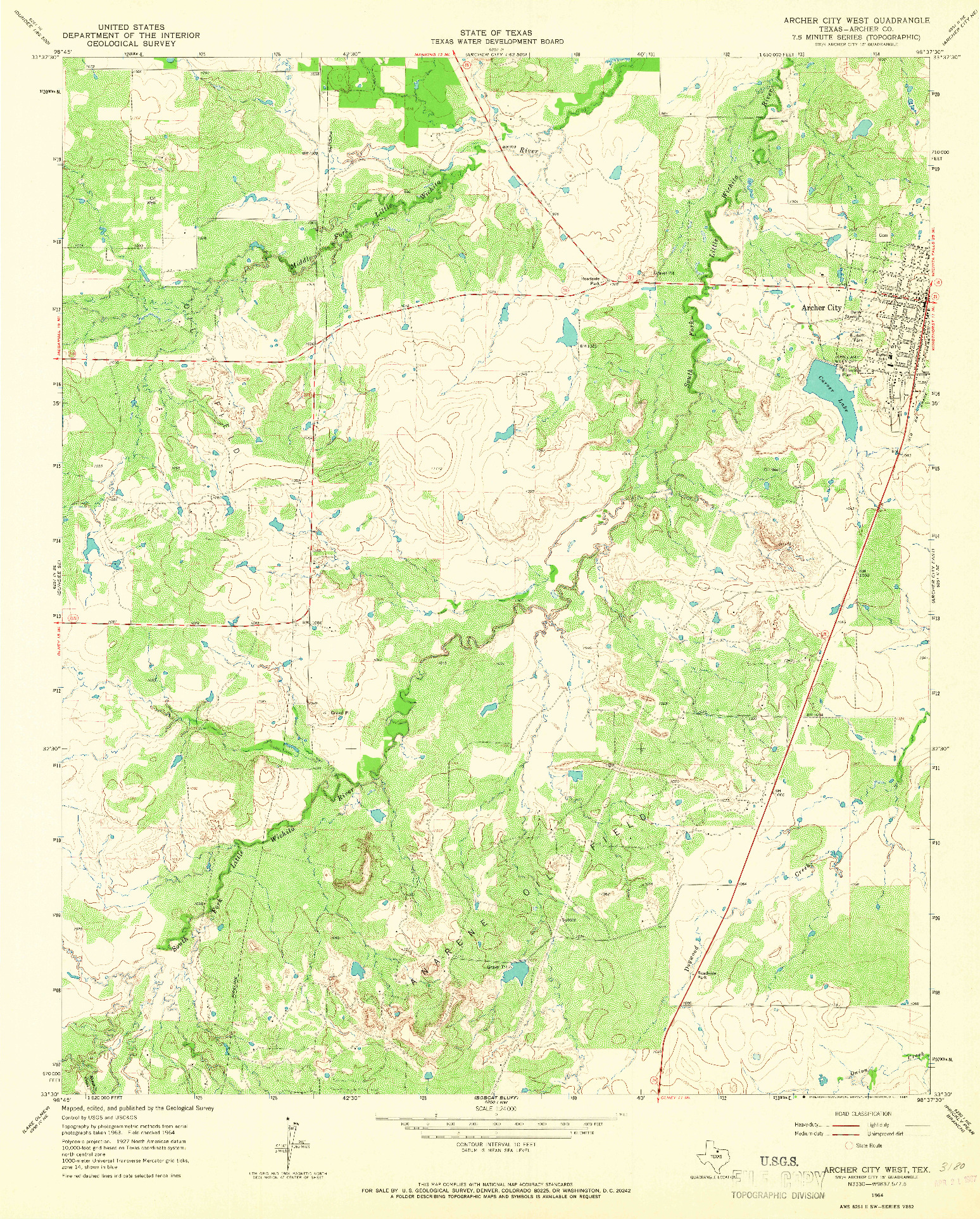 USGS 1:24000-SCALE QUADRANGLE FOR ARCHER CITY WEST, TX 1964