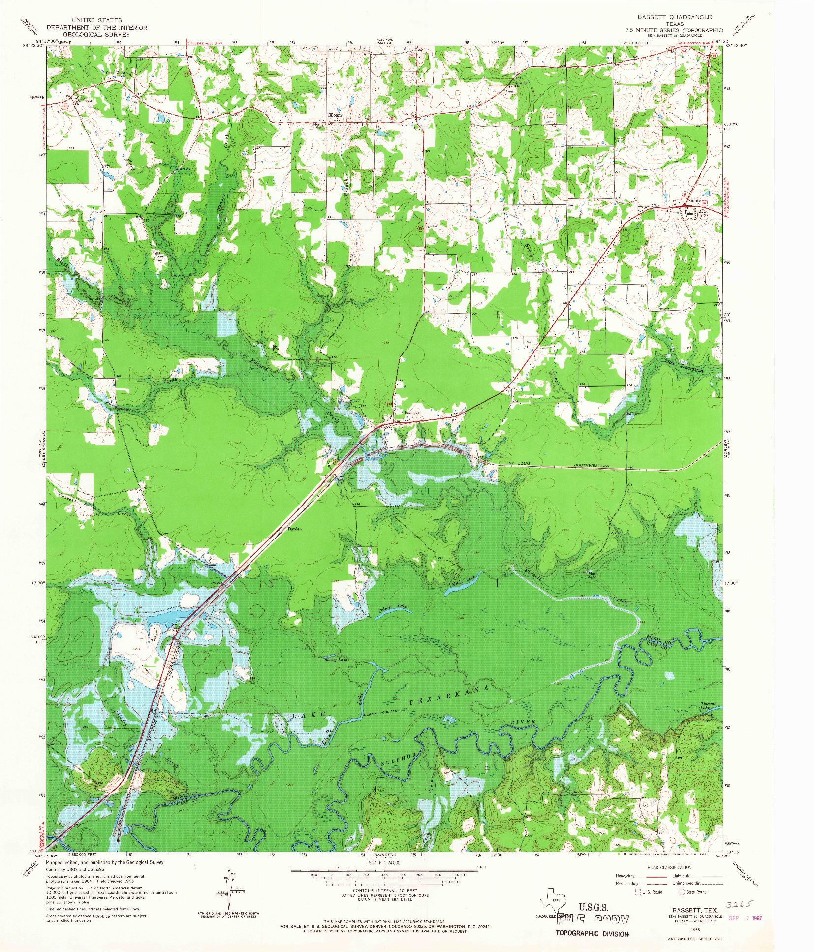USGS 1:24000-SCALE QUADRANGLE FOR BASSETT, TX 1965