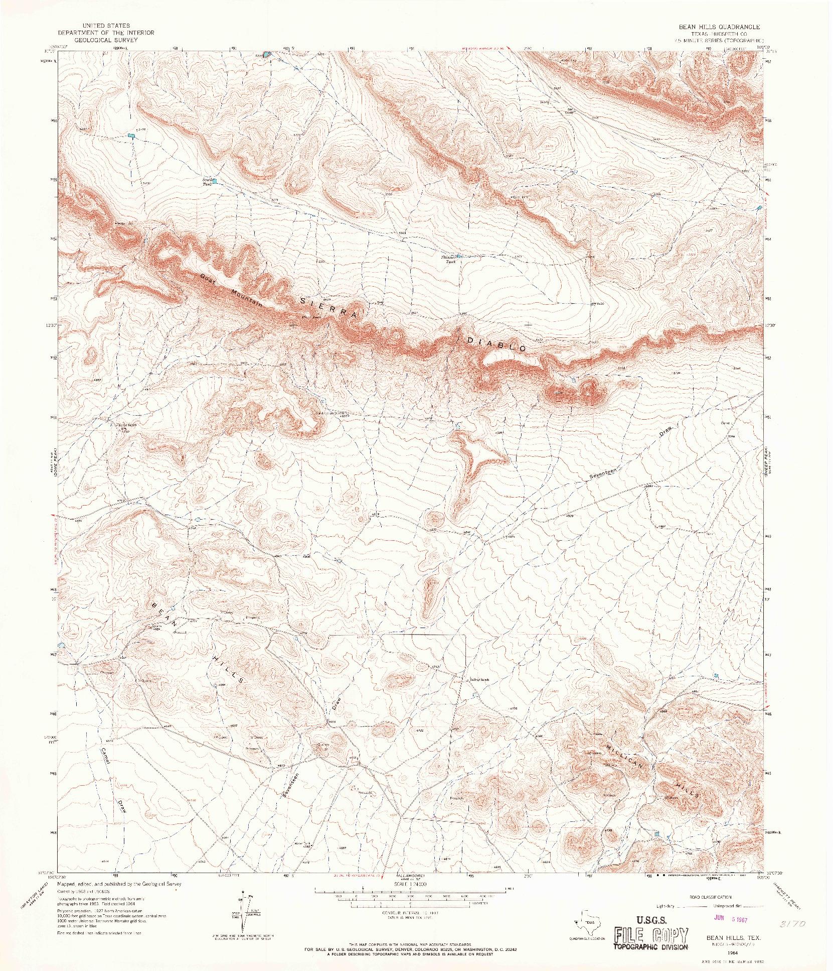 USGS 1:24000-SCALE QUADRANGLE FOR BEAN HILLS, TX 1964