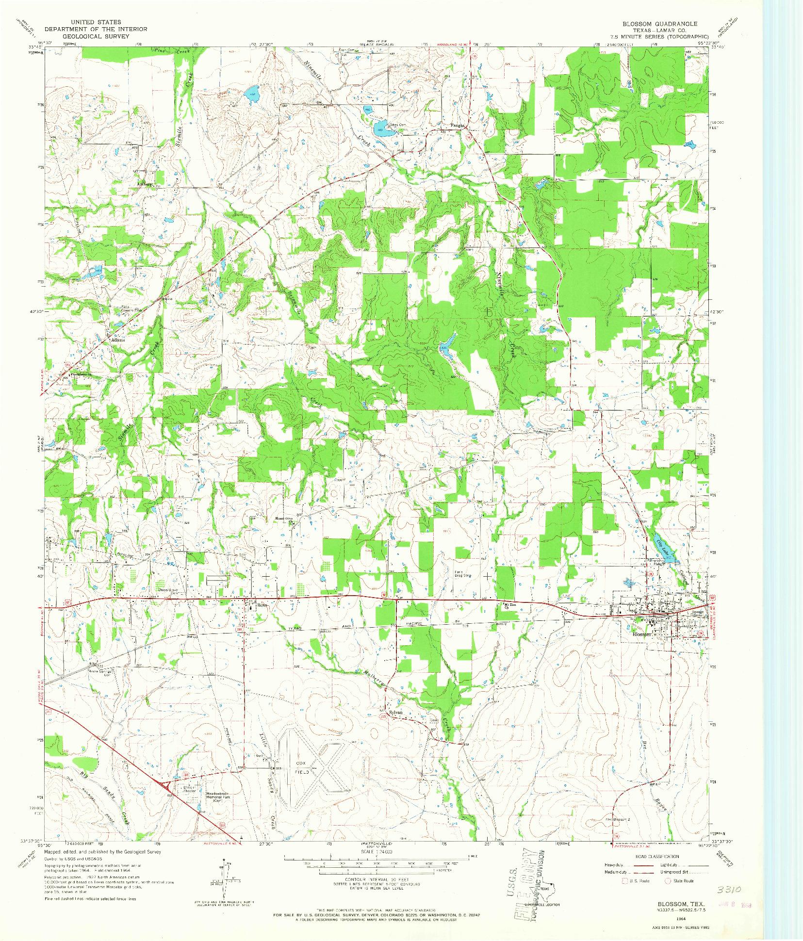 USGS 1:24000-SCALE QUADRANGLE FOR BLOSSOM, TX 1964