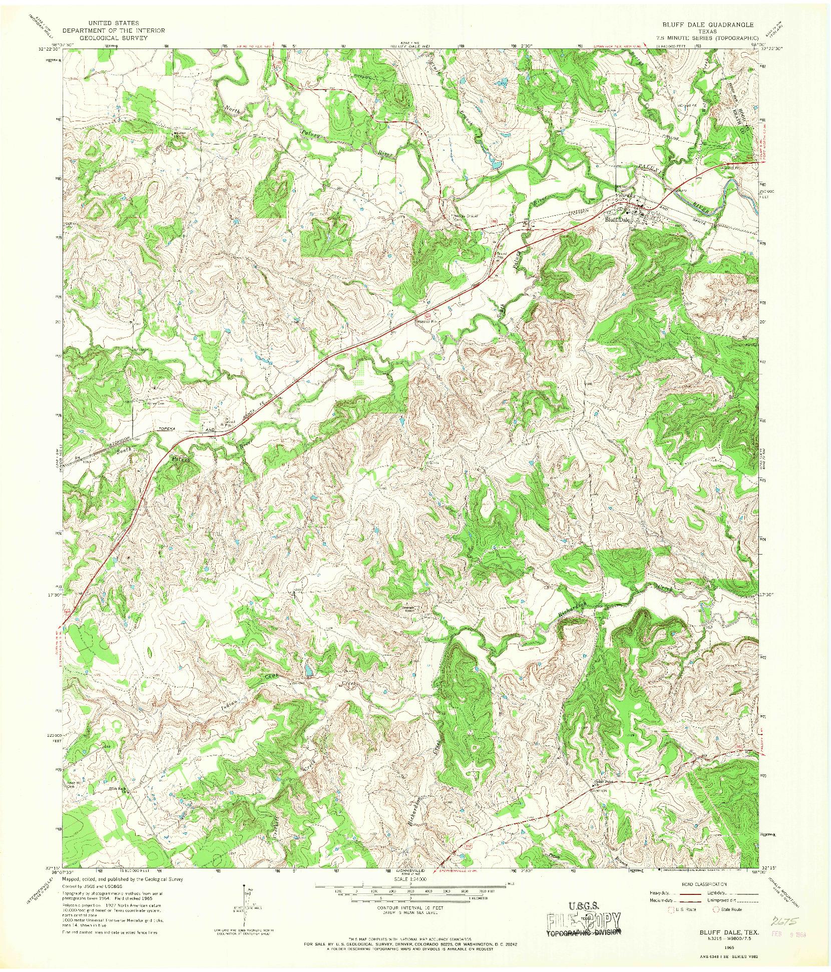 USGS 1:24000-SCALE QUADRANGLE FOR BLUFF DALE, TX 1965