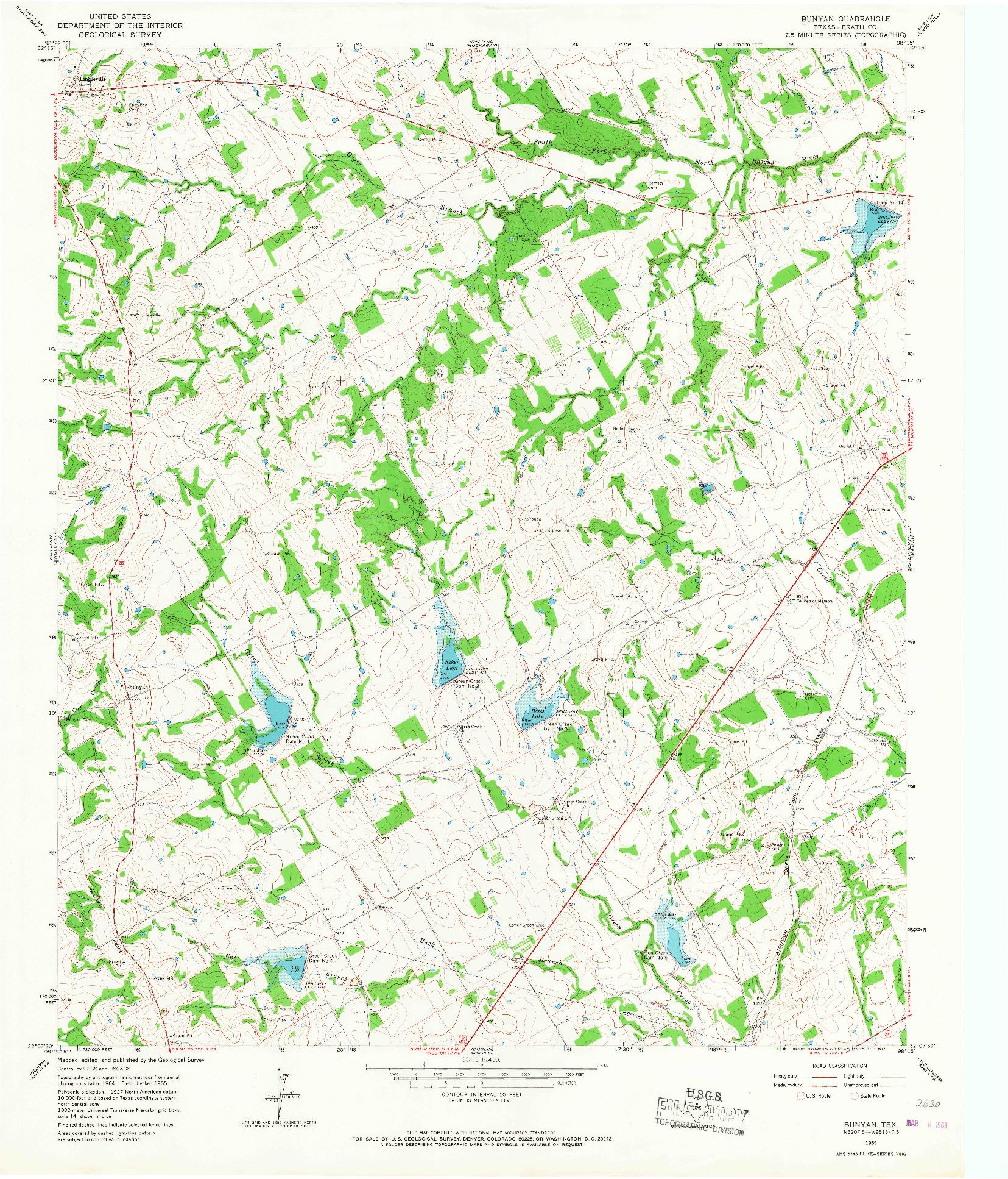 USGS 1:24000-SCALE QUADRANGLE FOR BUNYAN, TX 1965