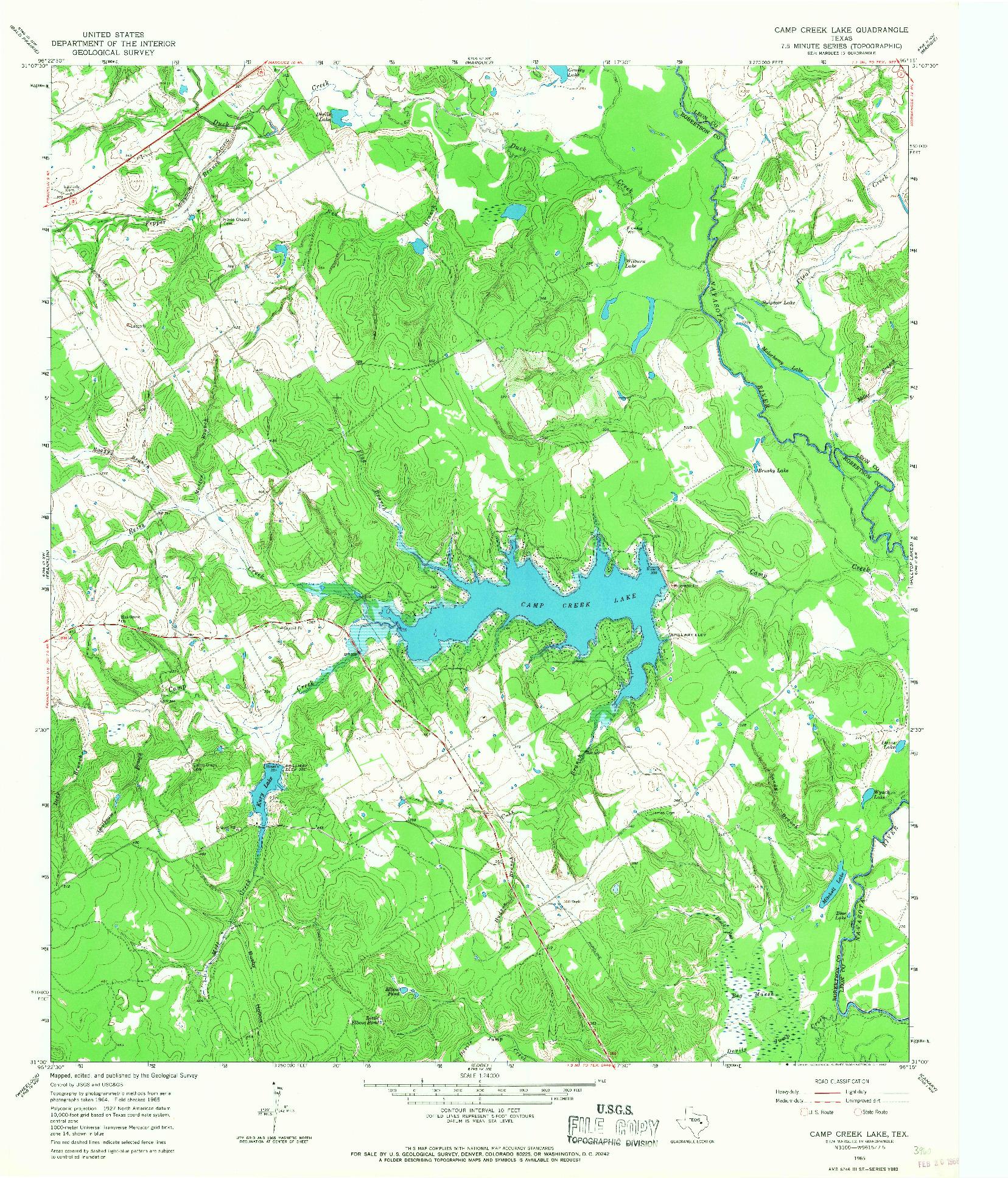 USGS 1:24000-SCALE QUADRANGLE FOR CAMP CREEK LAKE, TX 1965