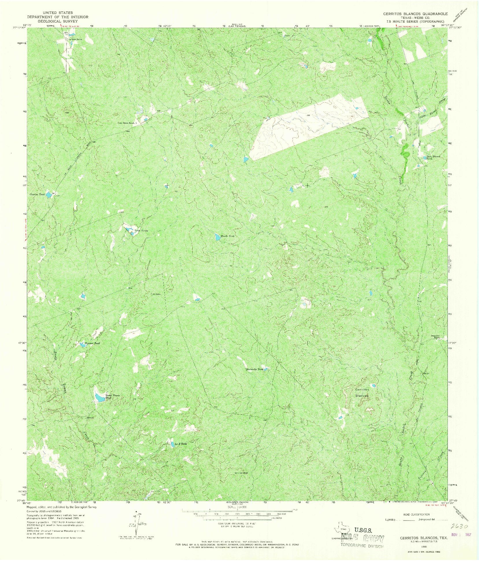 USGS 1:24000-SCALE QUADRANGLE FOR CERRITOS BLANCOS, TX 1965
