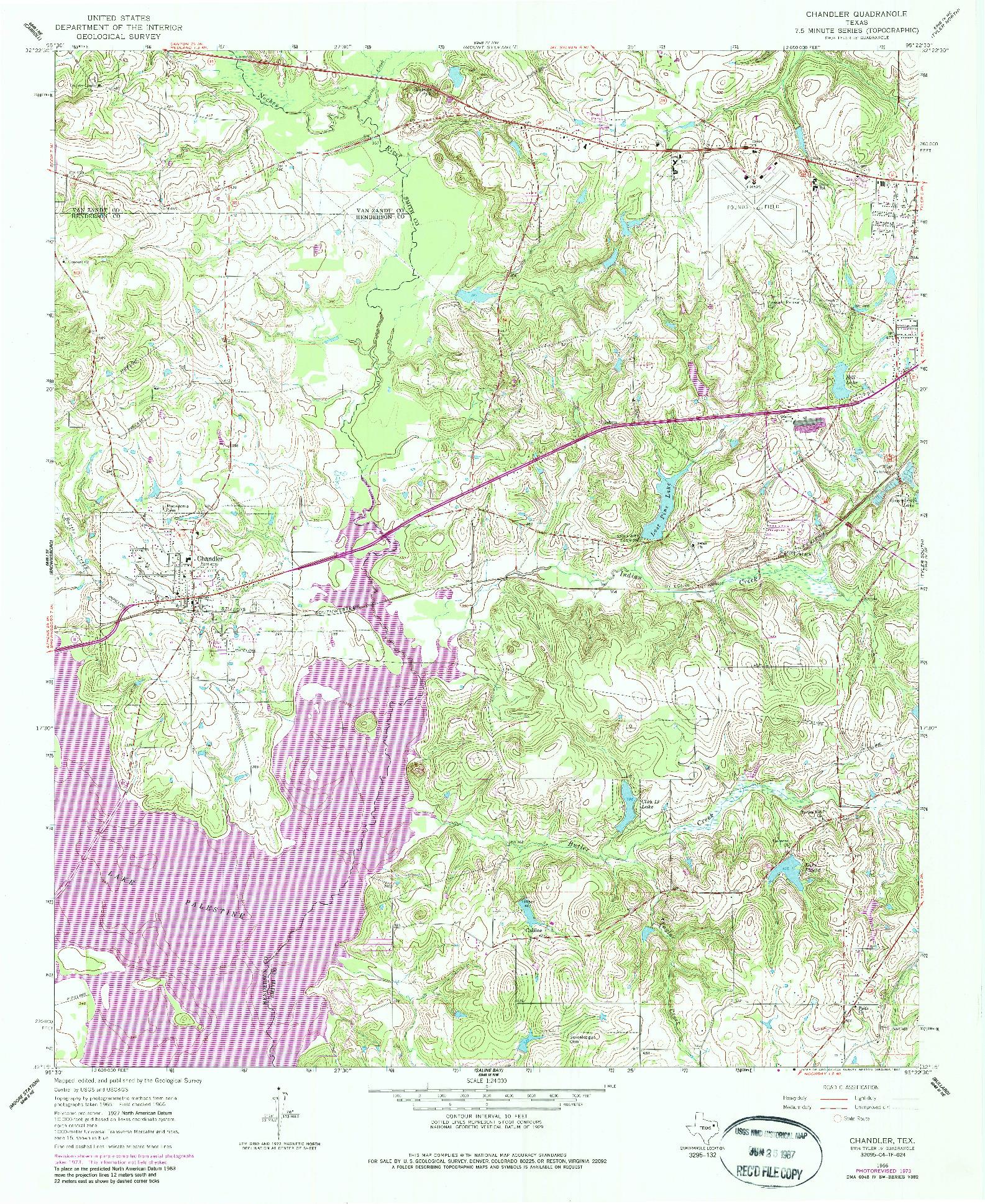 USGS 1:24000-SCALE QUADRANGLE FOR CHANDLER, TX 1966