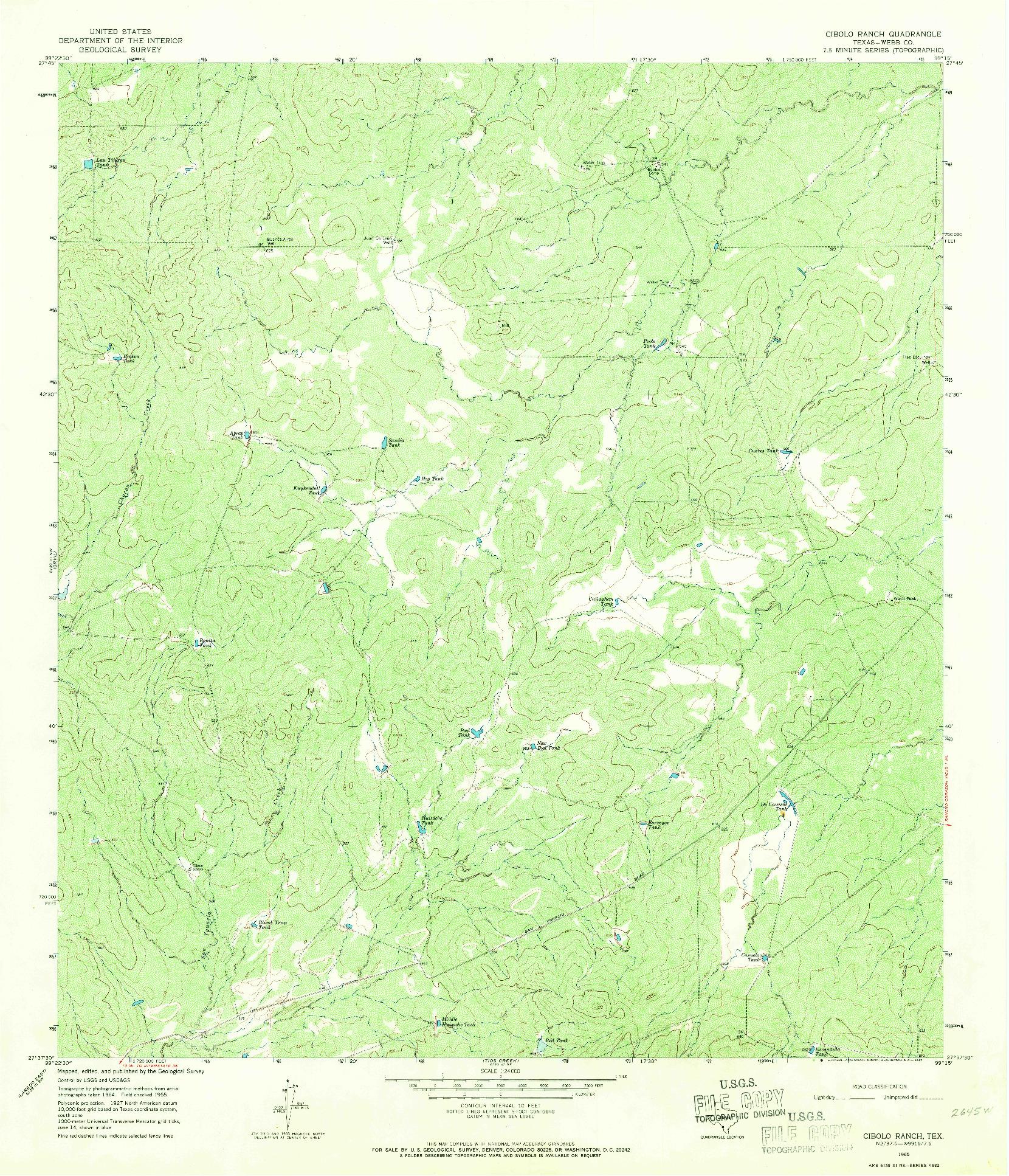 USGS 1:24000-SCALE QUADRANGLE FOR CIBOLO RANCH, TX 1965