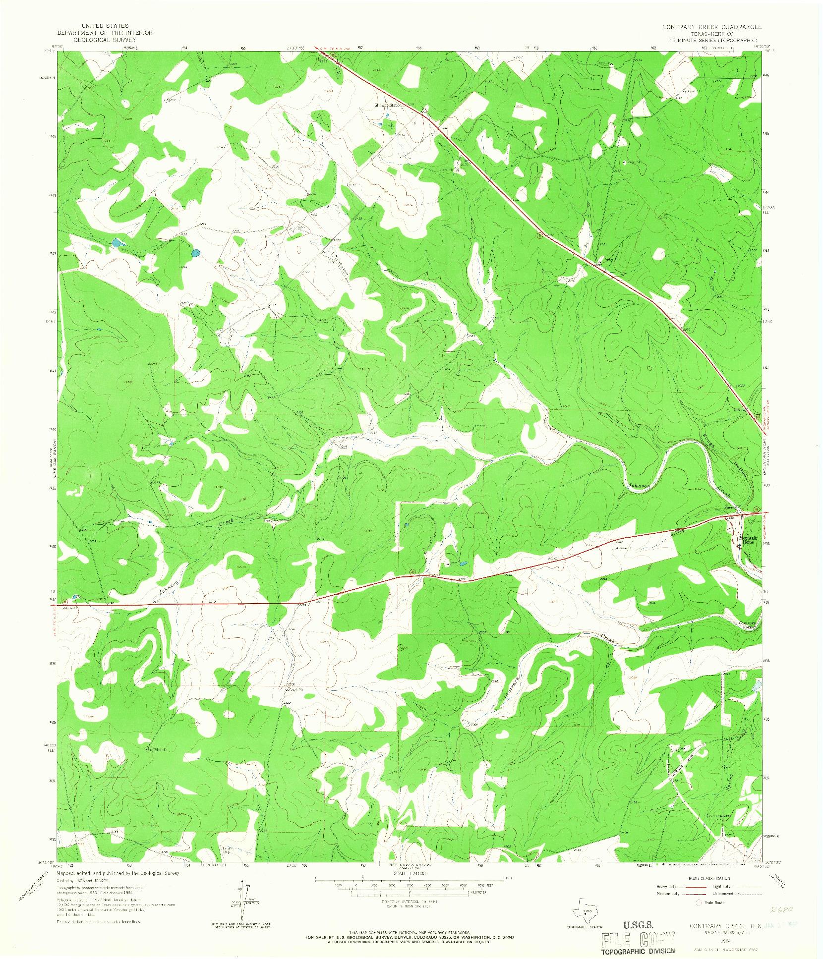 USGS 1:24000-SCALE QUADRANGLE FOR CONTRARY CREEK, TX 1964