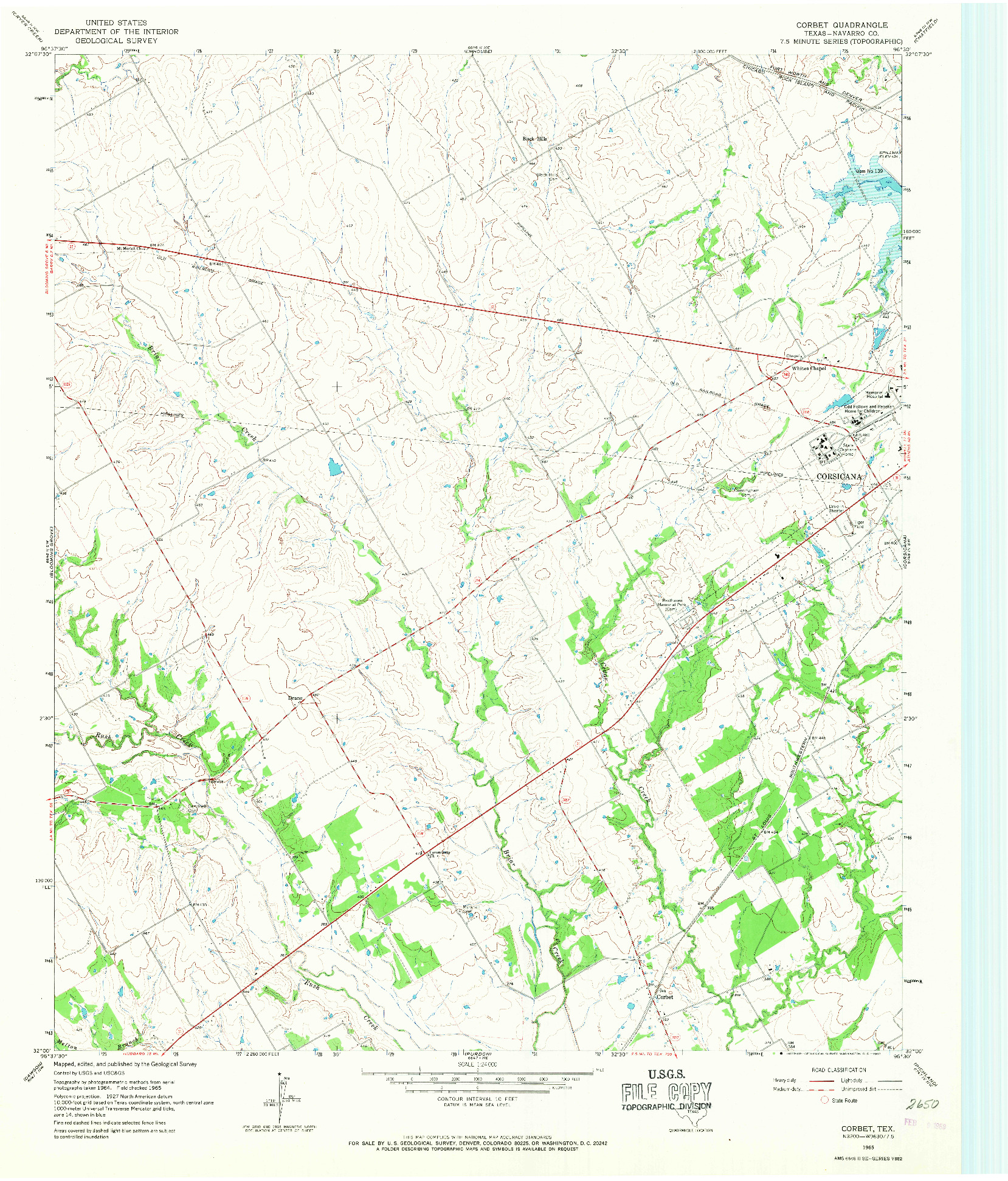 USGS 1:24000-SCALE QUADRANGLE FOR CORBET, TX 1965