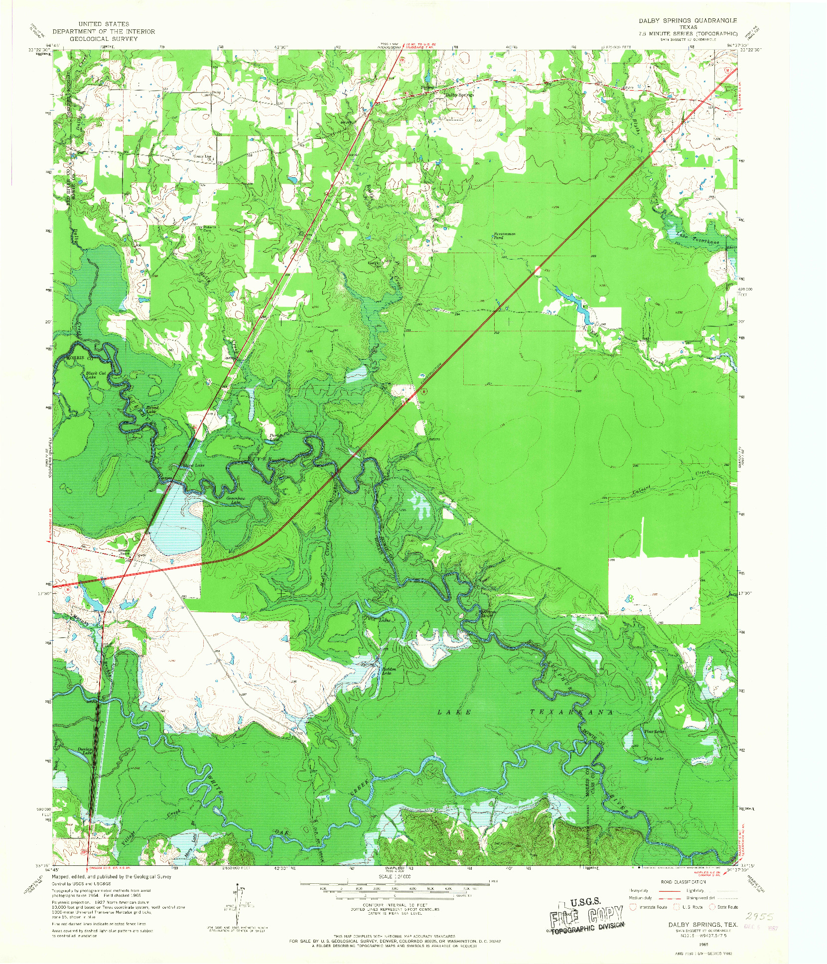 USGS 1:24000-SCALE QUADRANGLE FOR DALBY SPRINGS, TX 1965