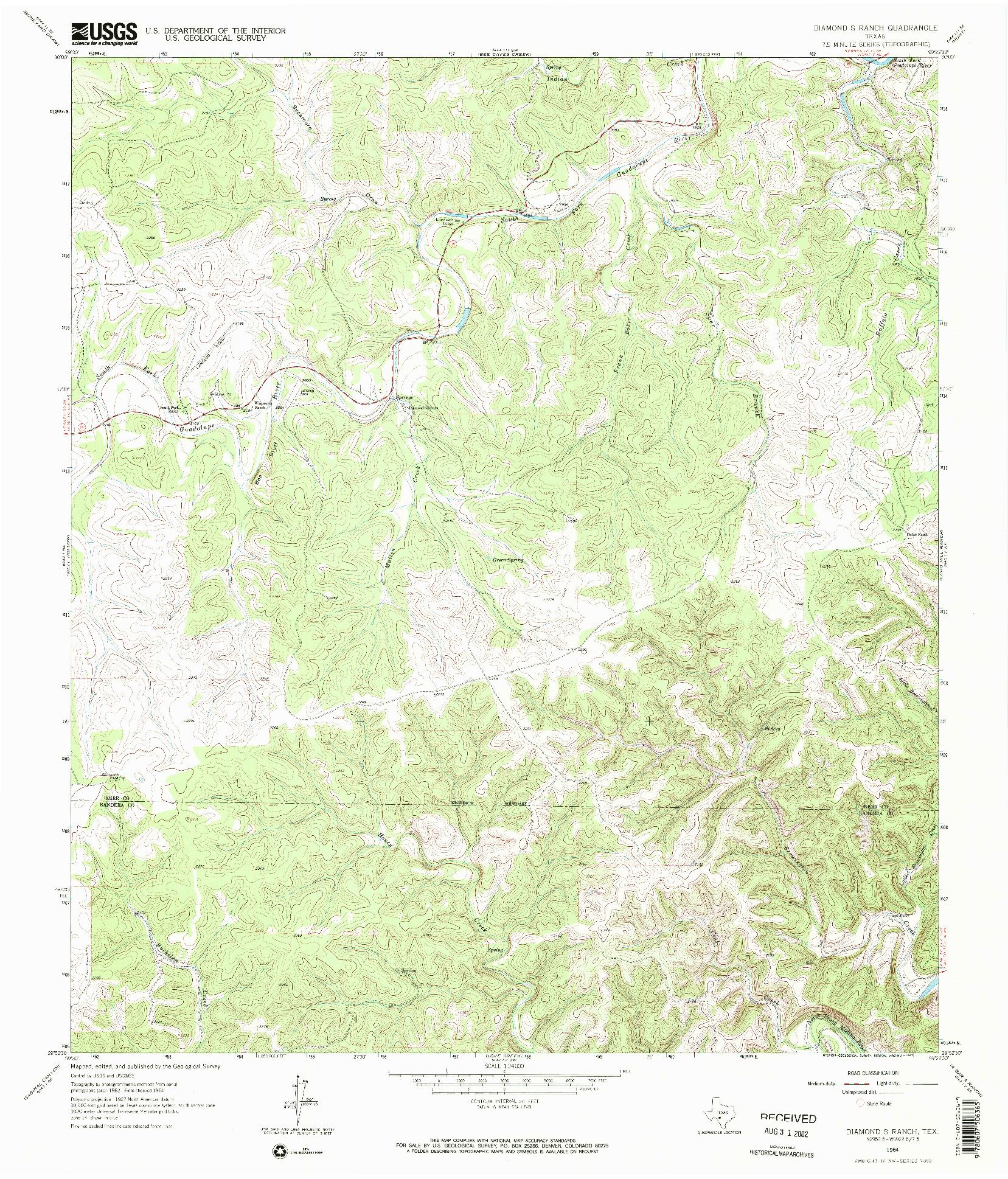 USGS 1:24000-SCALE QUADRANGLE FOR DIAMOND S RANCH, TX 1964