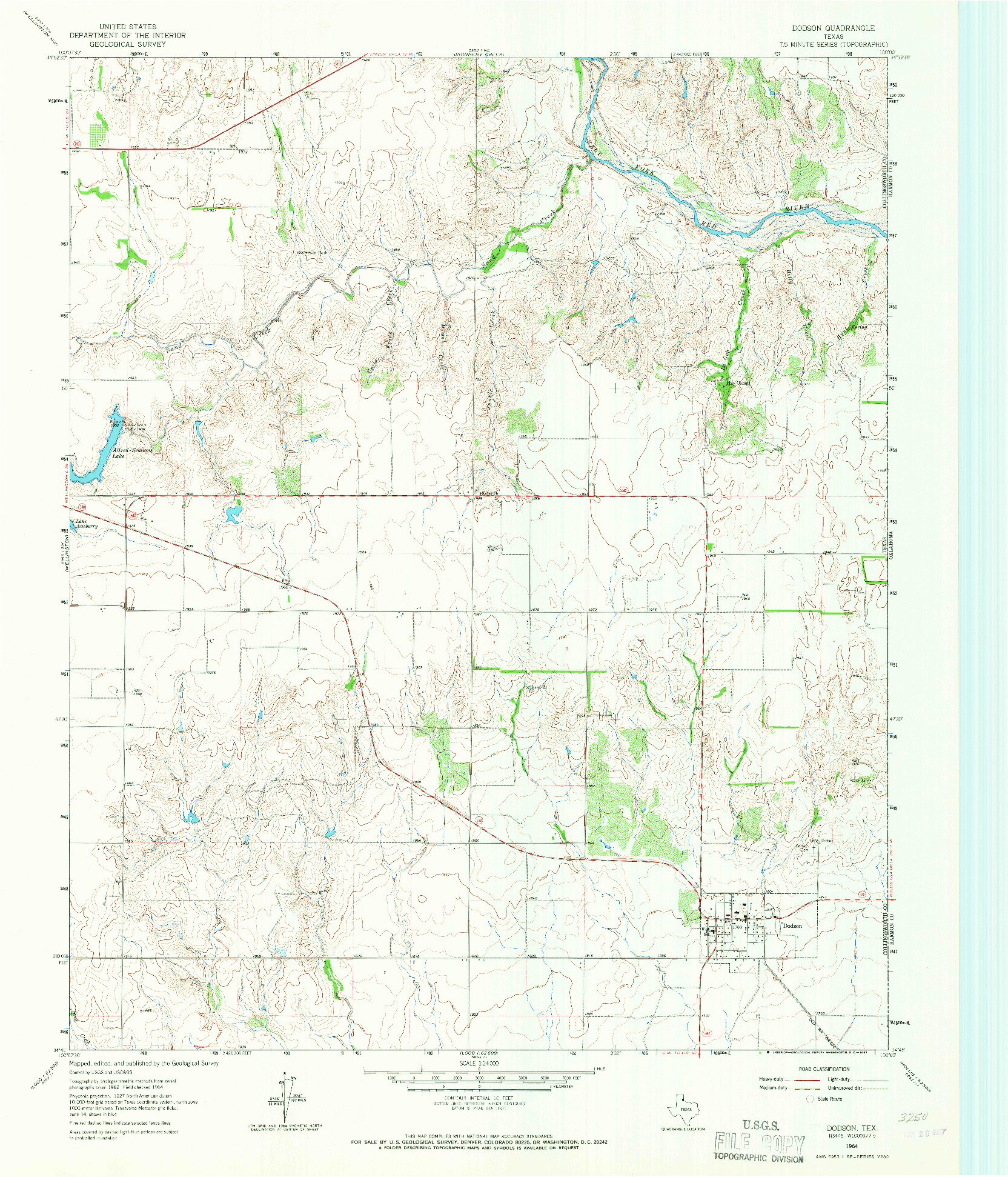 USGS 1:24000-SCALE QUADRANGLE FOR DODSON, TX 1964