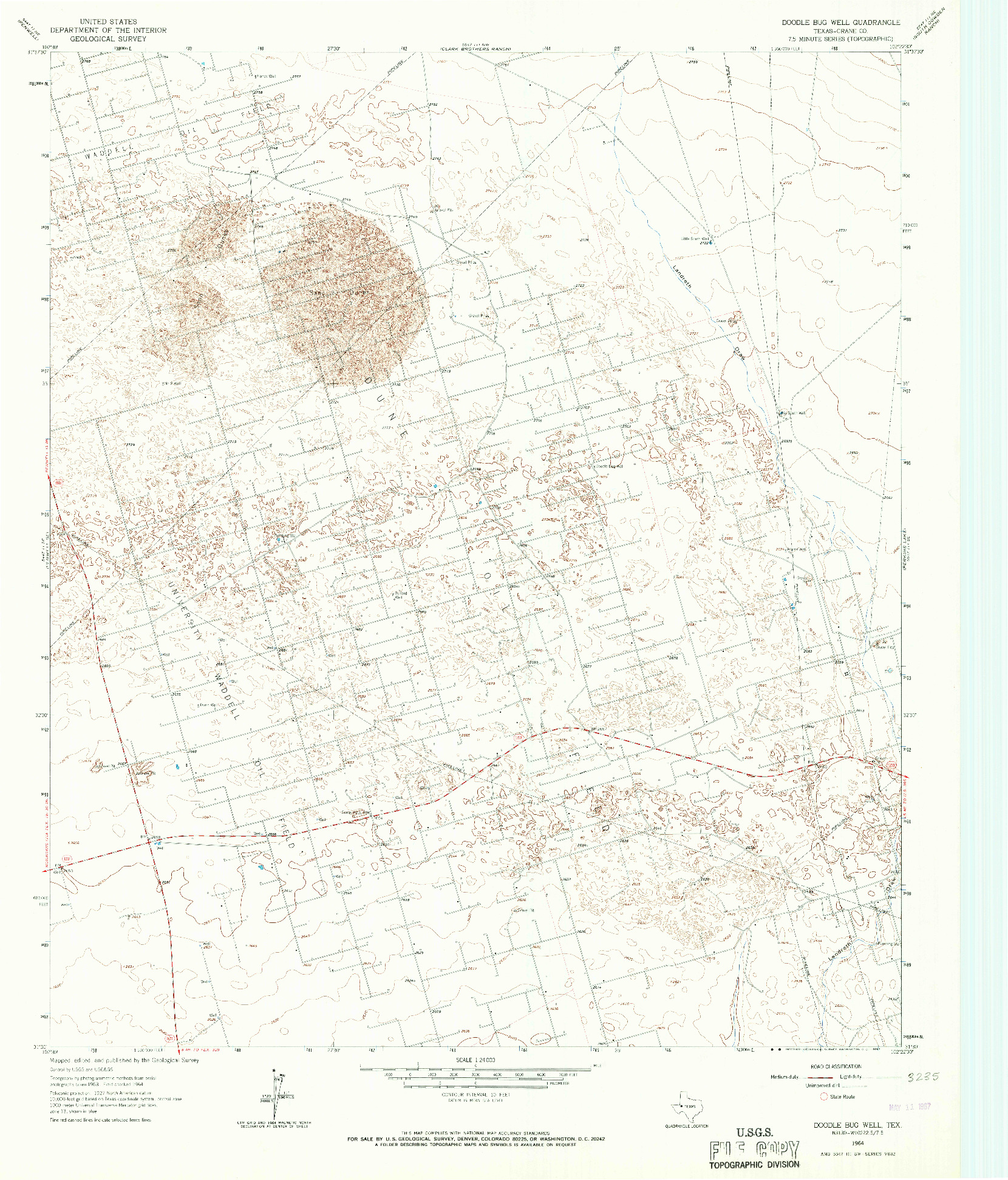 USGS 1:24000-SCALE QUADRANGLE FOR DOODLE BUG WELL, TX 1964