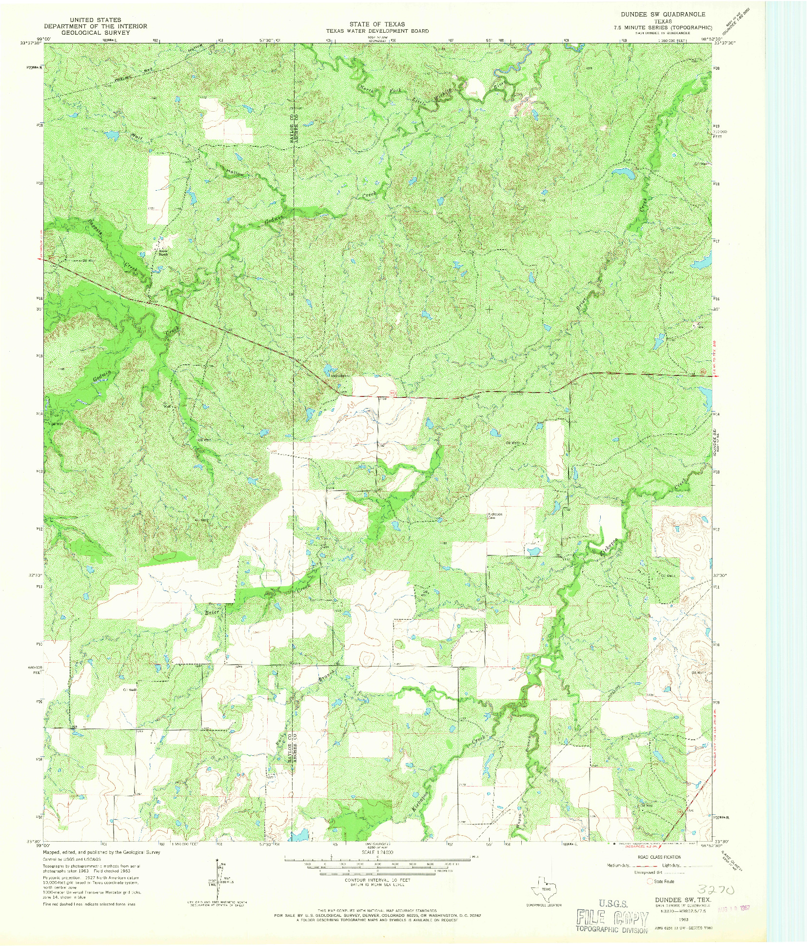USGS 1:24000-SCALE QUADRANGLE FOR DUNDEE SW, TX 1963