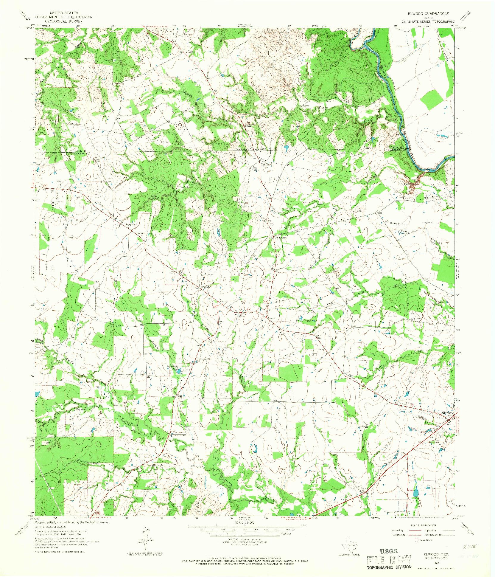 USGS 1:24000-SCALE QUADRANGLE FOR ELWOOD, TX 1964