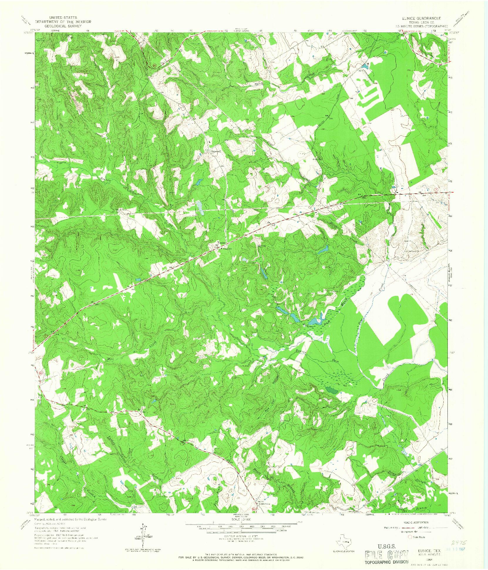 USGS 1:24000-SCALE QUADRANGLE FOR EUNICE, TX 1964