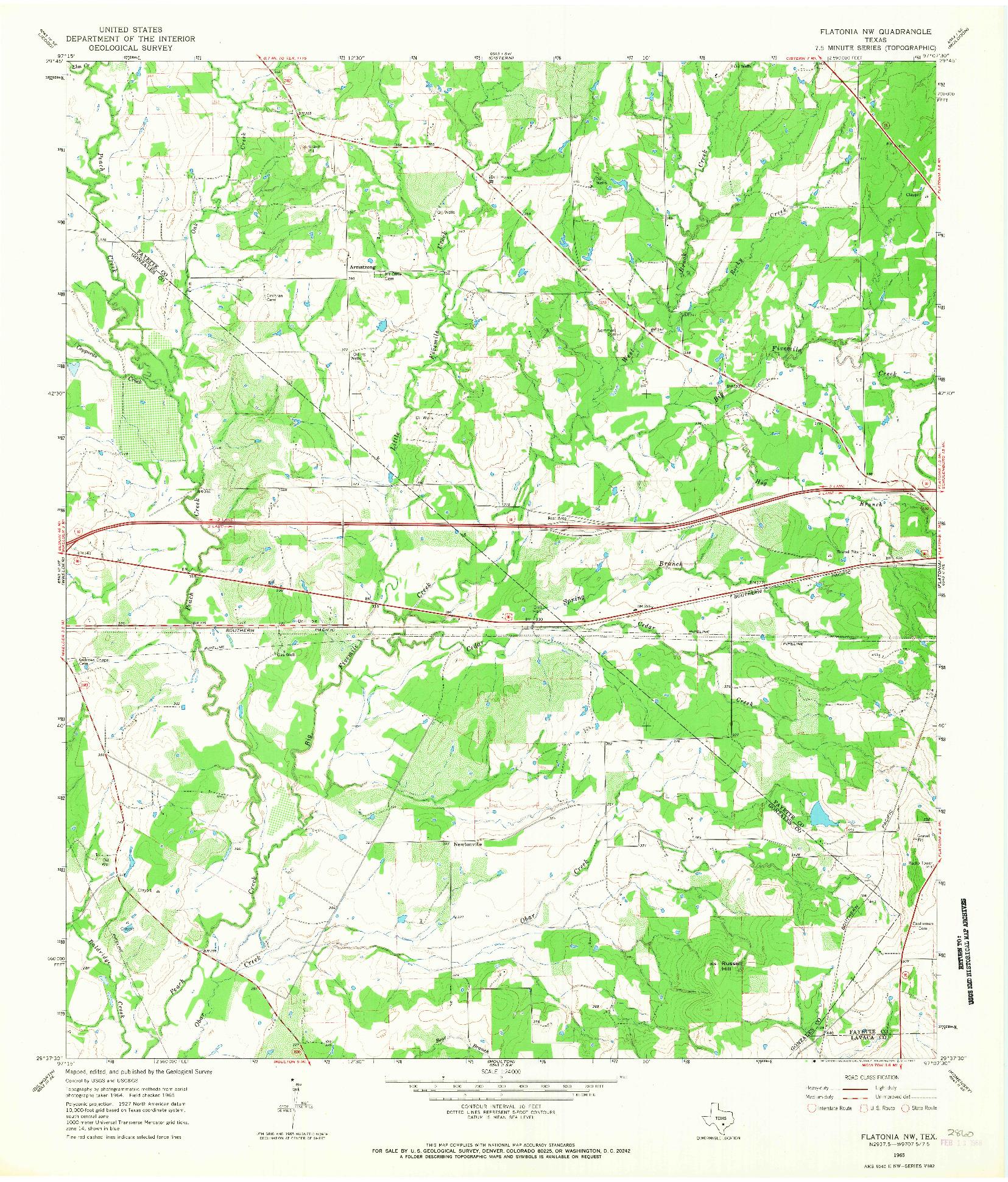 USGS 1:24000-SCALE QUADRANGLE FOR FLATONIA NW, TX 1965