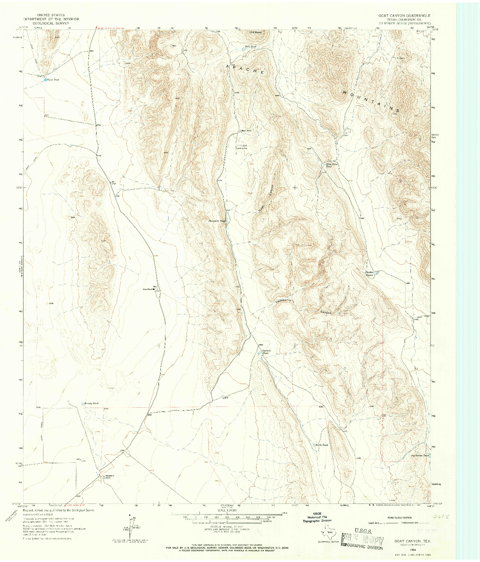USGS 1:24000-SCALE QUADRANGLE FOR GOAT CANYON, TX 1964