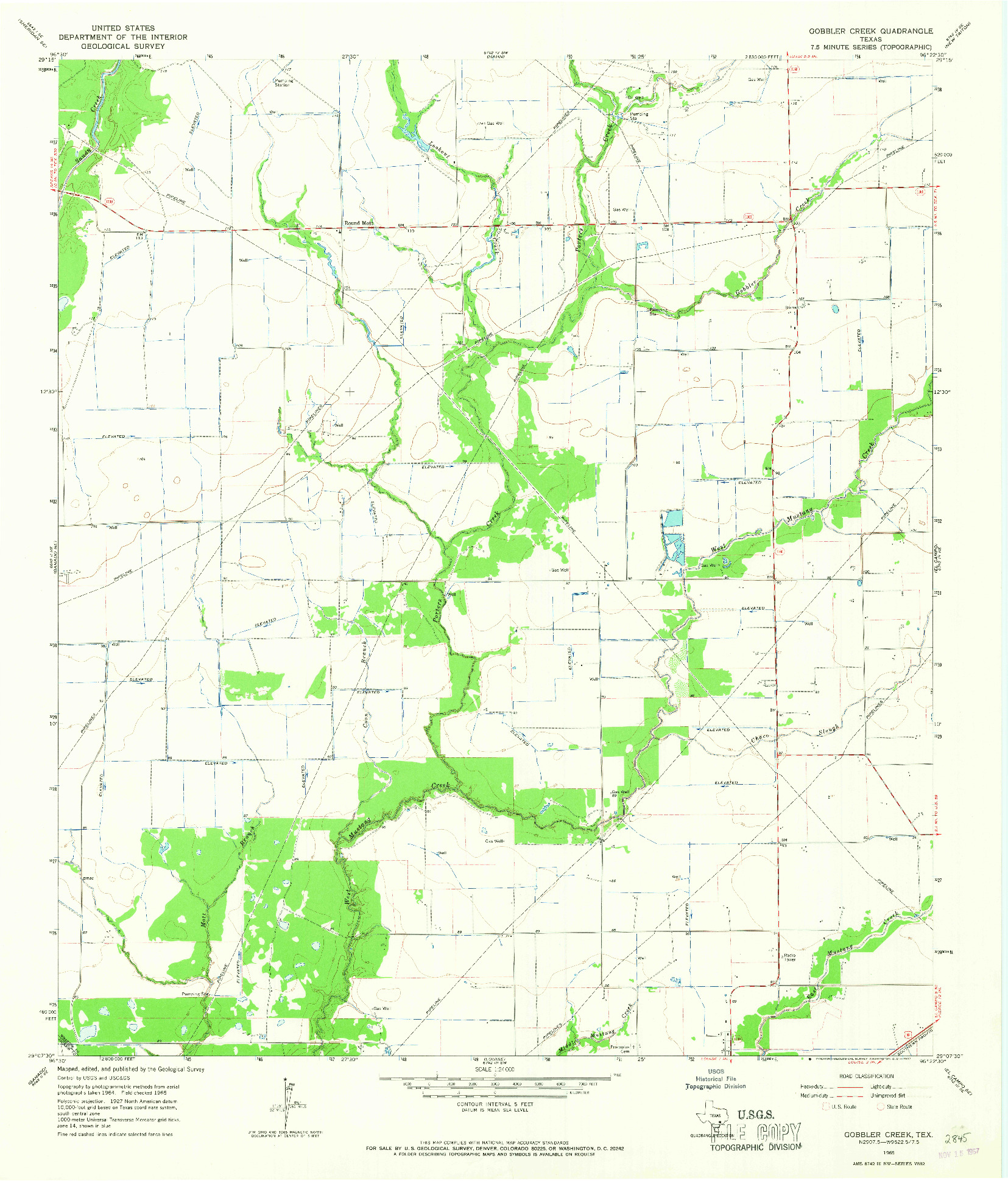USGS 1:24000-SCALE QUADRANGLE FOR GOBBLER CREEK, TX 1965