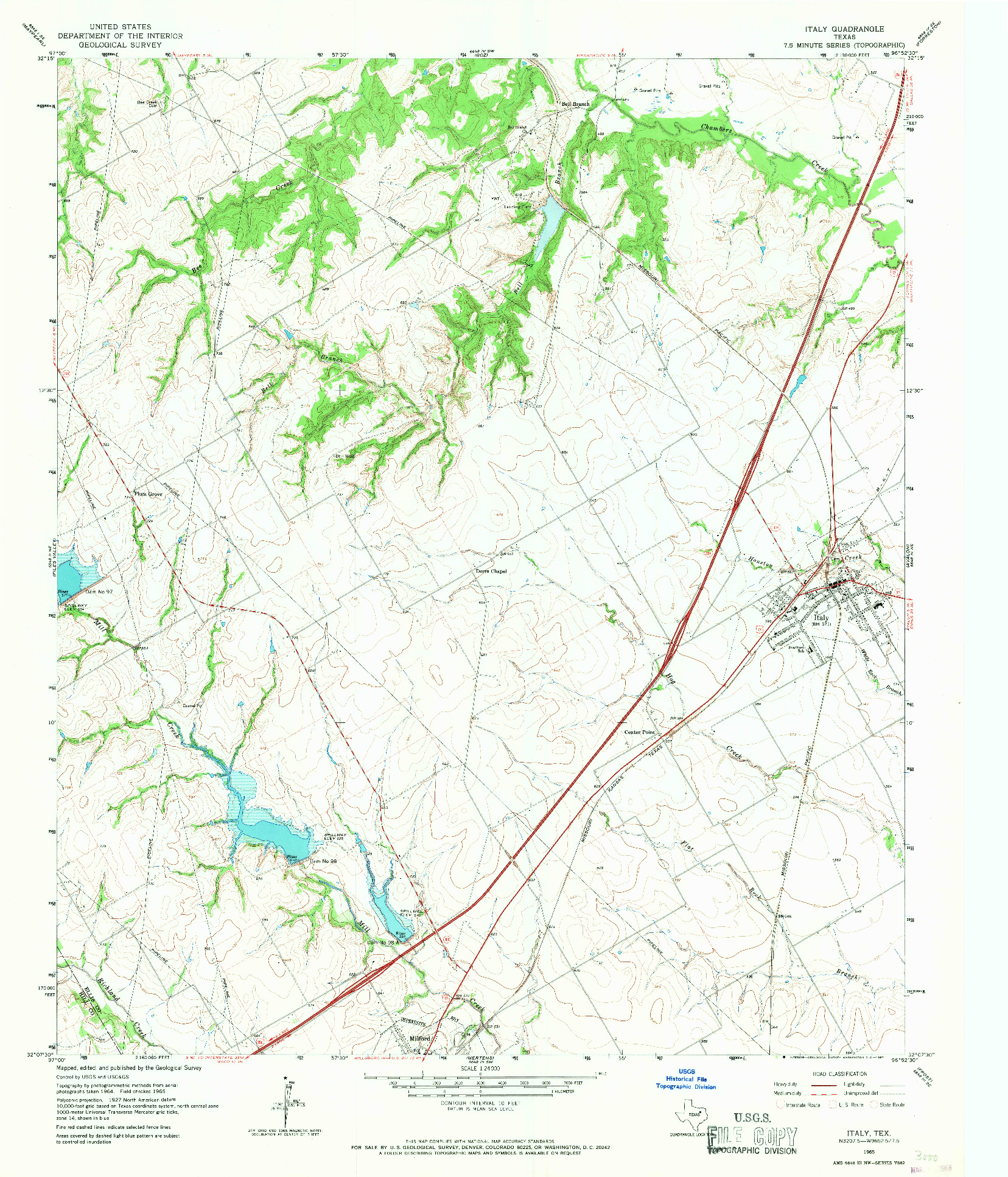 USGS 1:24000-SCALE QUADRANGLE FOR ITALY, TX 1965
