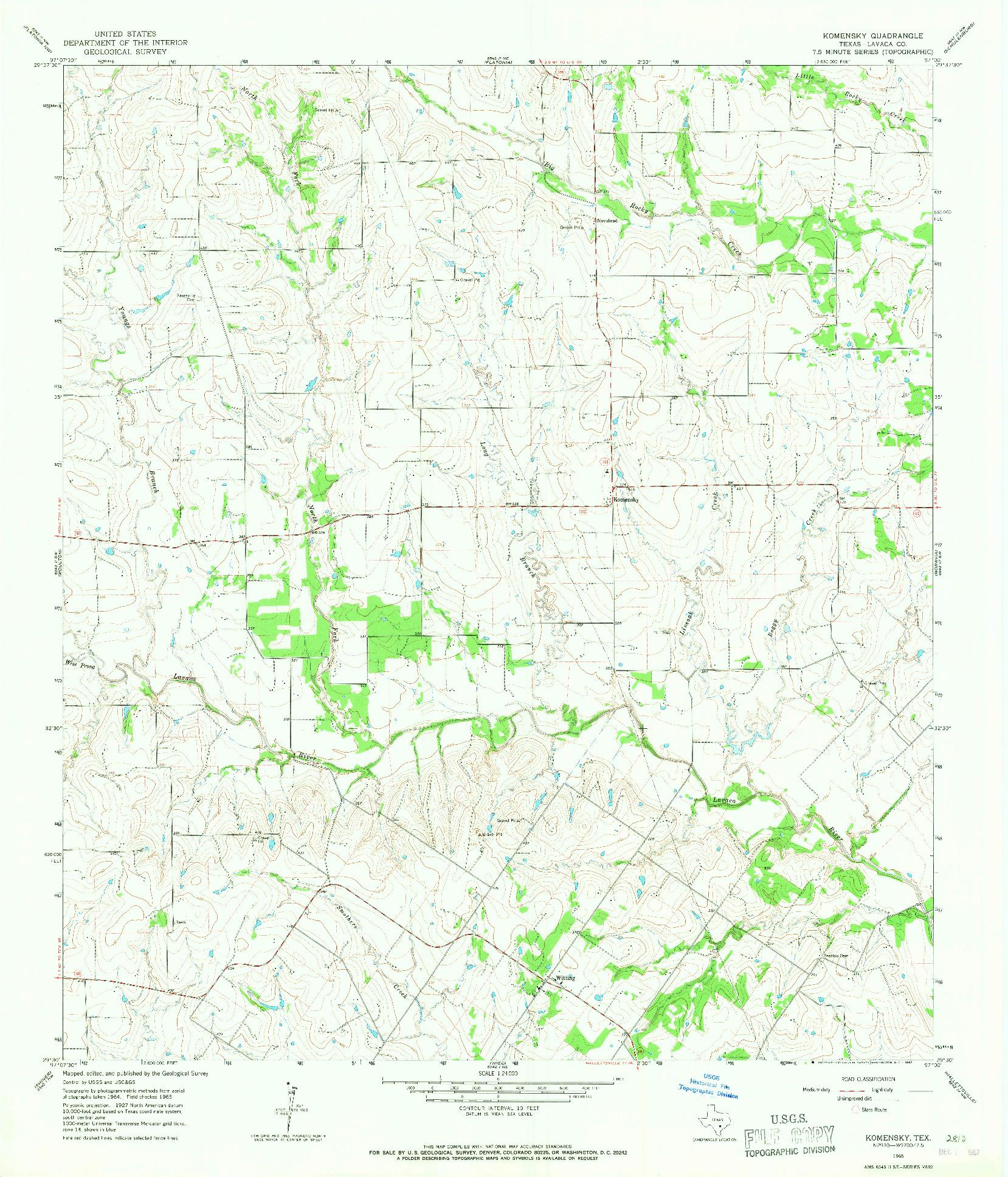 USGS 1:24000-SCALE QUADRANGLE FOR KOMENSKY, TX 1965