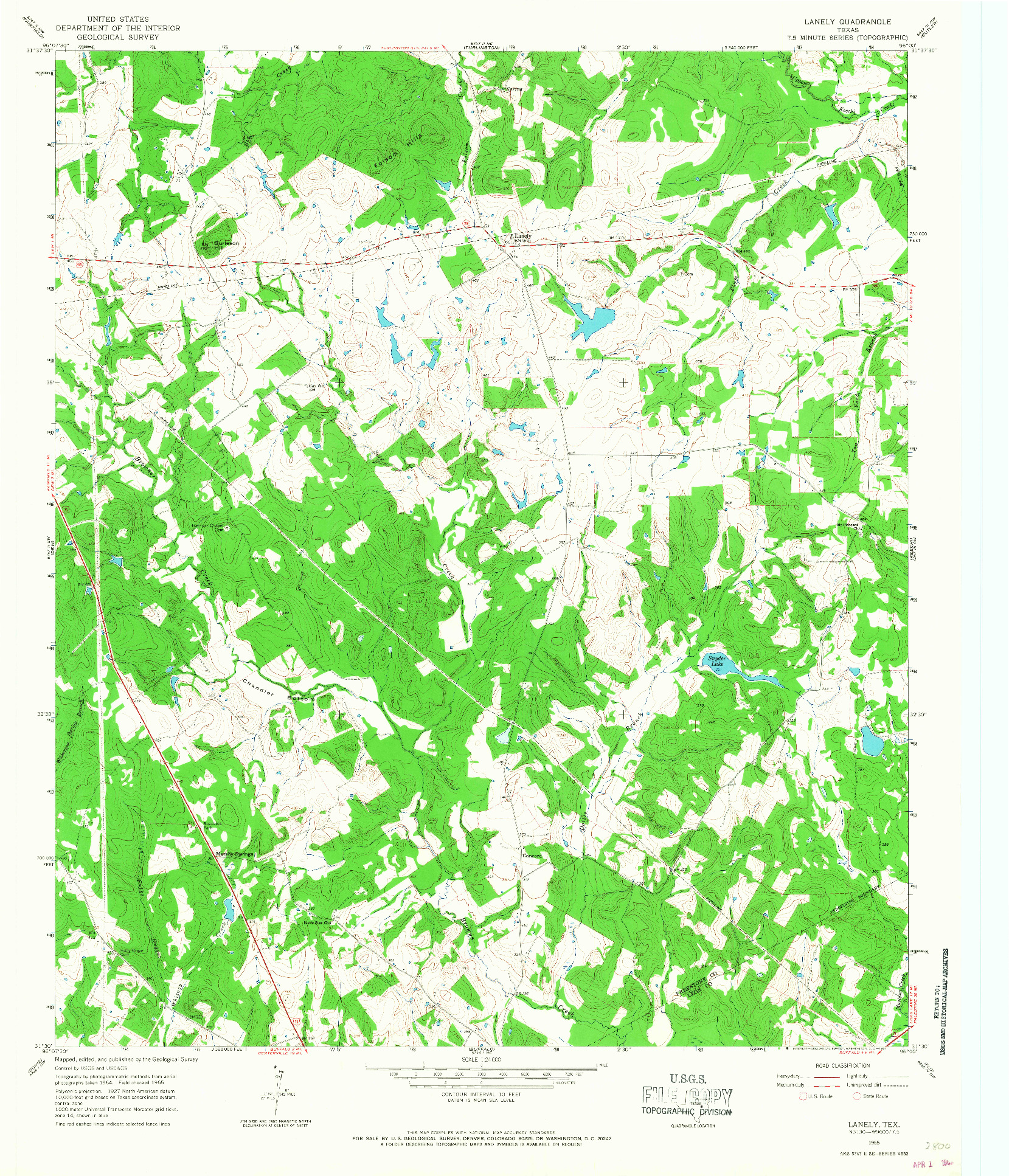 USGS 1:24000-SCALE QUADRANGLE FOR LANELY, TX 1965