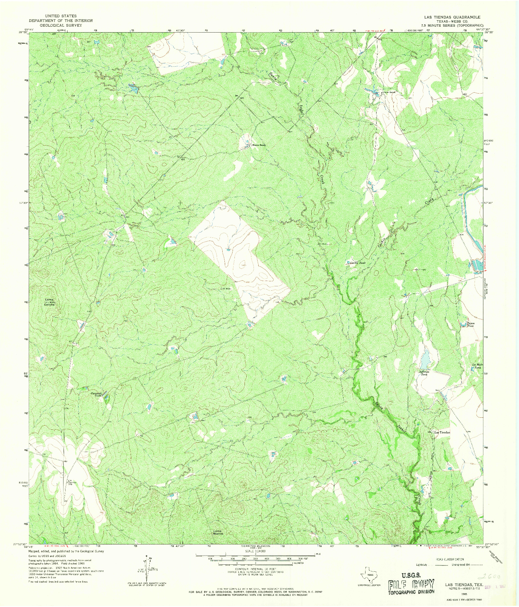 USGS 1:24000-SCALE QUADRANGLE FOR LAS TIENDAS, TX 1965