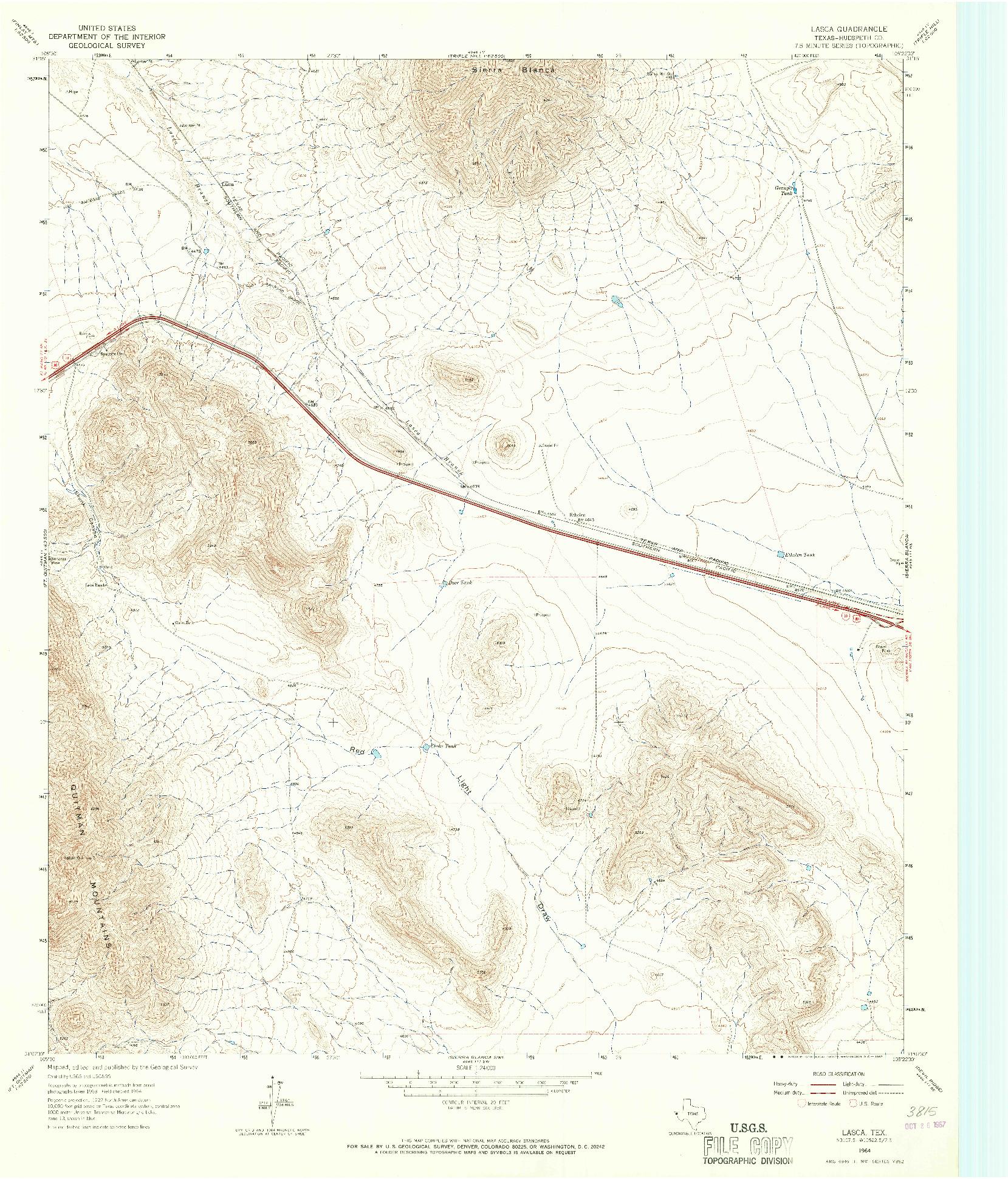 USGS 1:24000-SCALE QUADRANGLE FOR LASCA, TX 1964