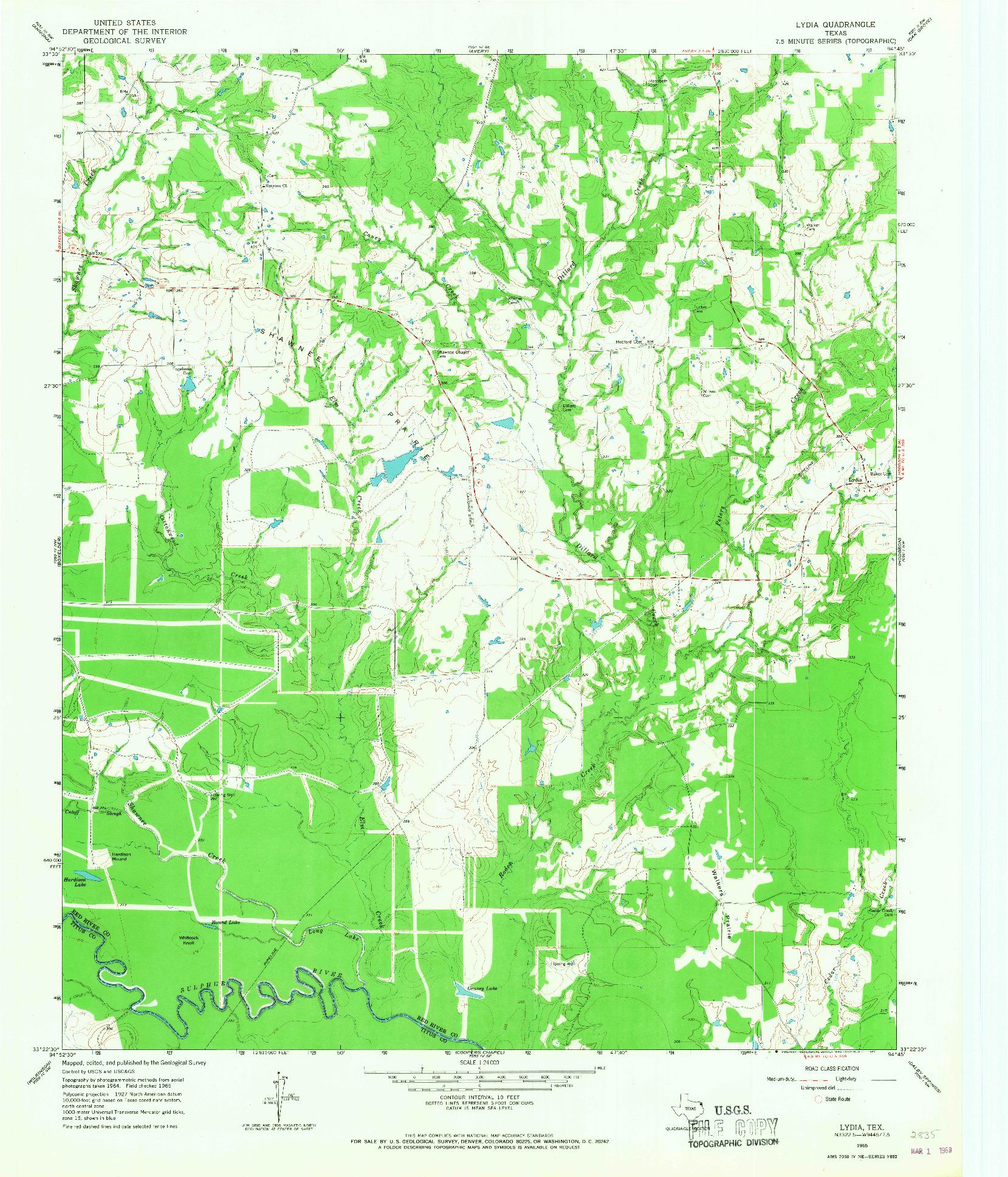 USGS 1:24000-SCALE QUADRANGLE FOR LYDIA, TX 1965